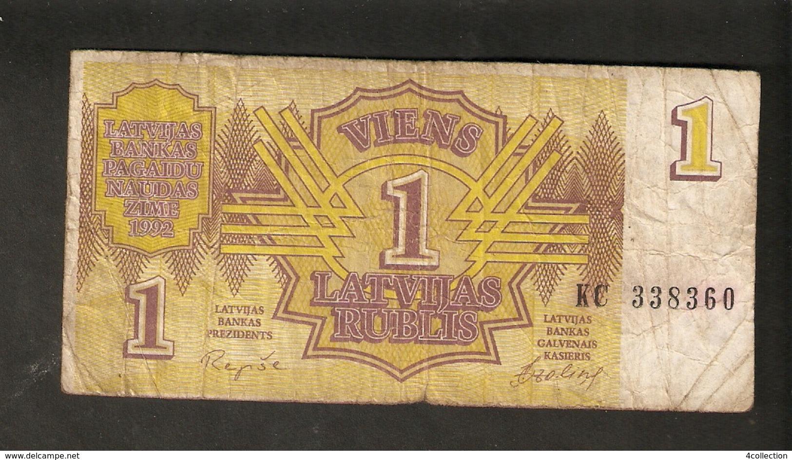 Pa. Latvia Lettland 1 Latvijas Rublis Latvian Ruble Rouble 1992 Ser. KC 338360 Banknote Repshe - Lettonie