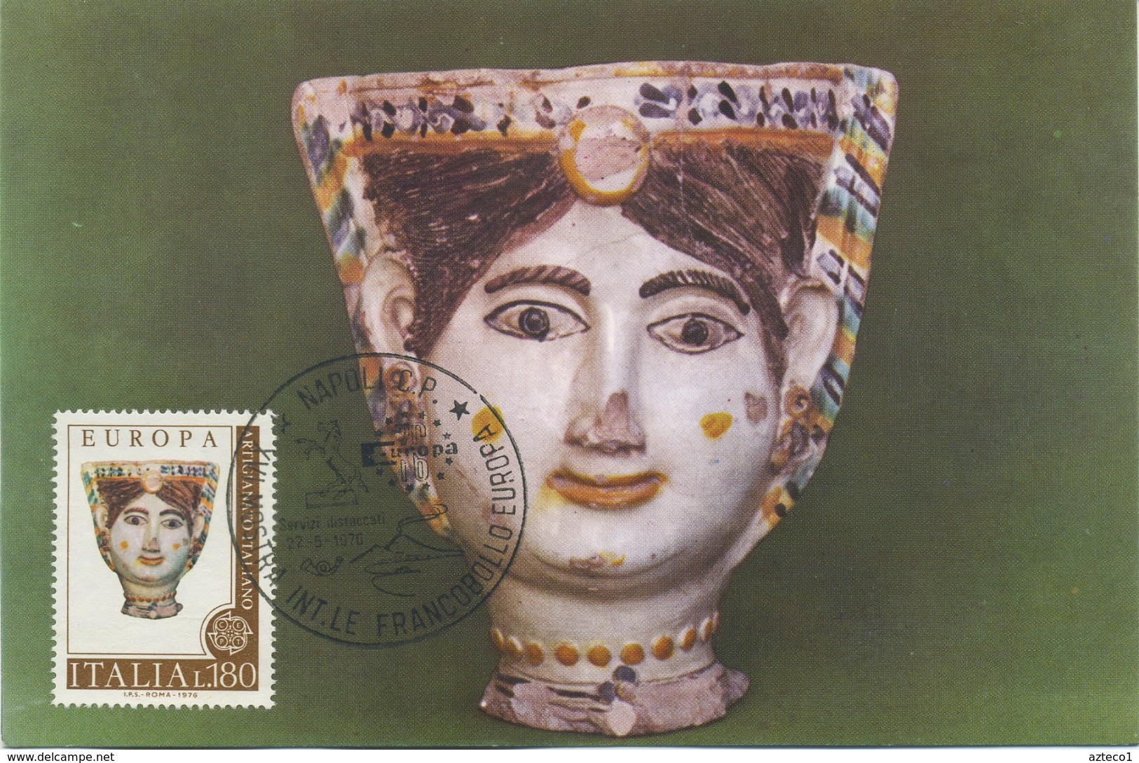 ITALIA - FDC MAXIMUM CARD 1976 - EUROPA UNITA - VASO DA FIORI IN CERAMICA - ARTE - ANNULLO SPECIALE - Cartoline Maximum