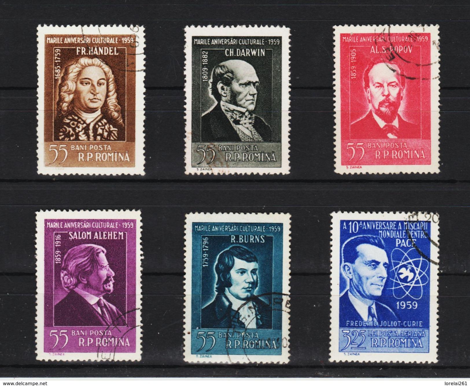 1959 - Anniversaires Culturels  Mi 1765/1770 Et Yv No 1619/1623 + P.A. 90 - Gebraucht