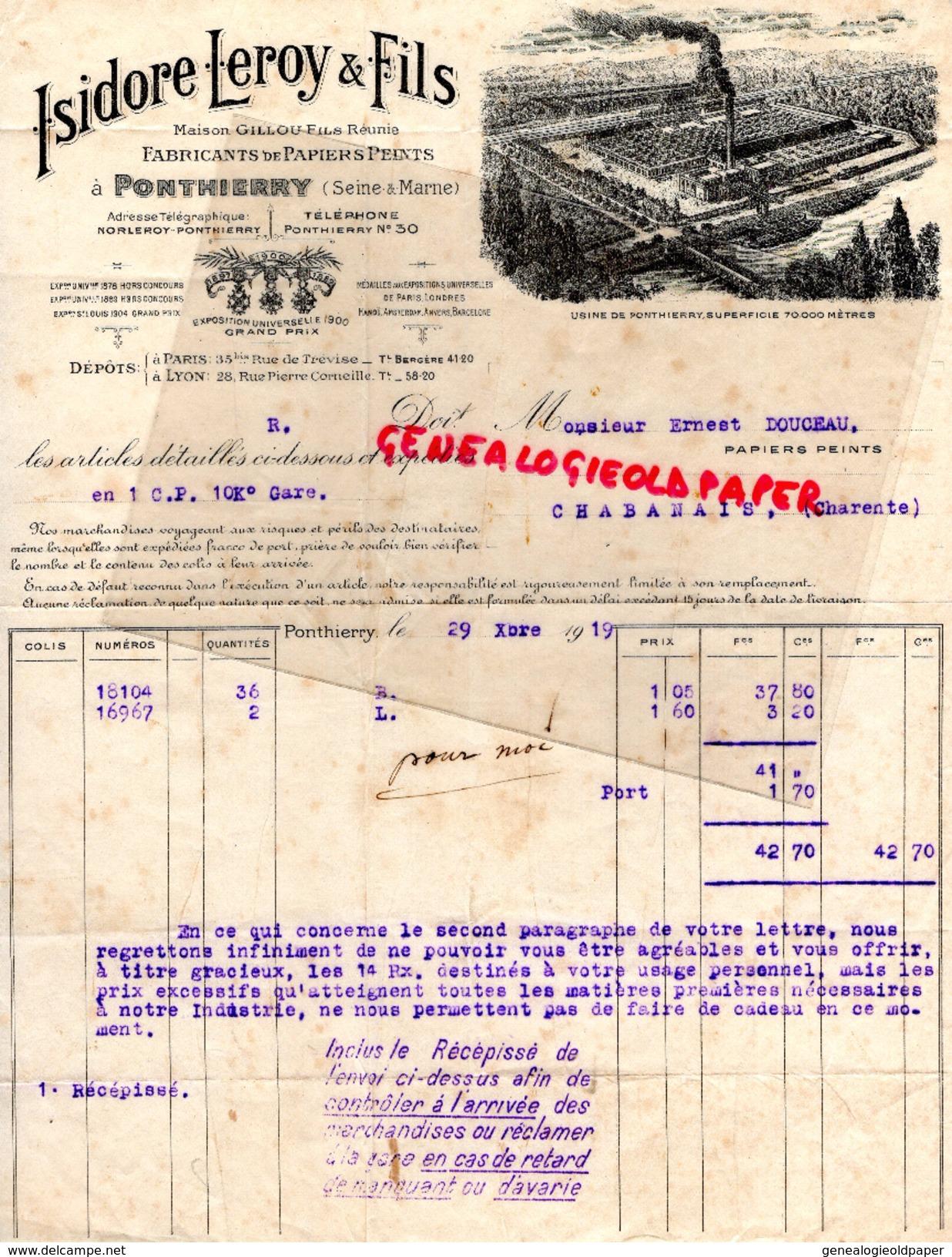 77 - PONTHIERRY- FACTURE ISIDORE LEROY ET FILS- GILLOU- PAPETERIE IMPRIMERIE PAPIERS PEINTS- A ERNEST DOUCEAU CHABANAIS- - Papeterie