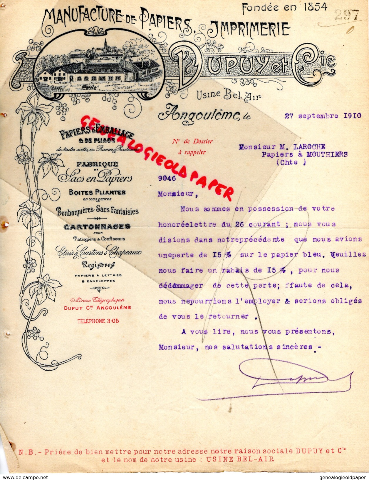 16 - ANGOULEME - FACTURE MANUFACTURE PAPIERS PAPETERIE IMPRIMERIE-DUPUY -USNE BEL AIR- 1910 M. LAROCHE A MOUTHIERS - Papeterie