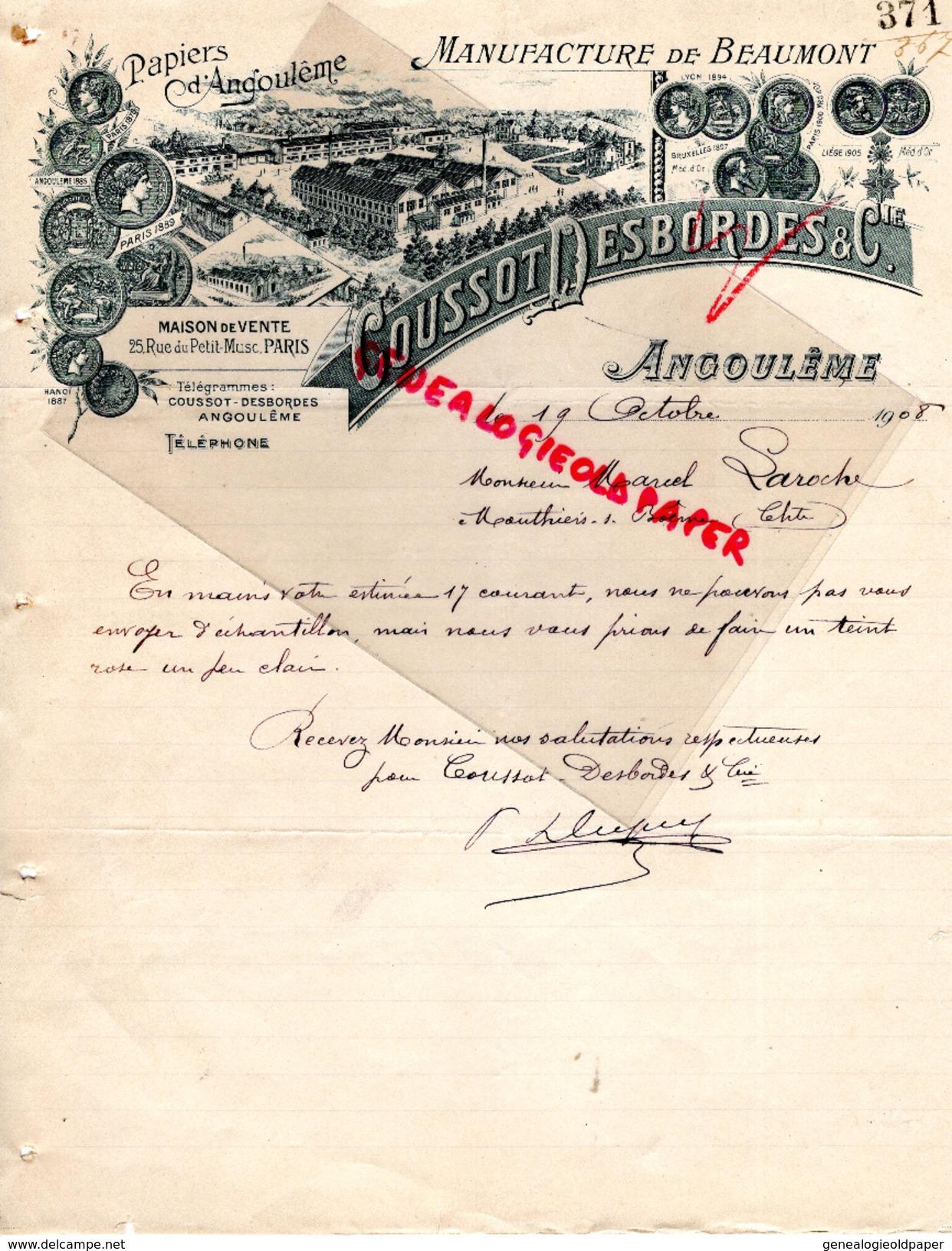 16 - ANGOULEME -FACTURE MANUFACTURE BEAUMONT PAPIERS PAPETERIE IMPRIMERIE-COUSSOT DESBORDES- A M. LAROCHE MOUTHIERS-1908 - Papeterie