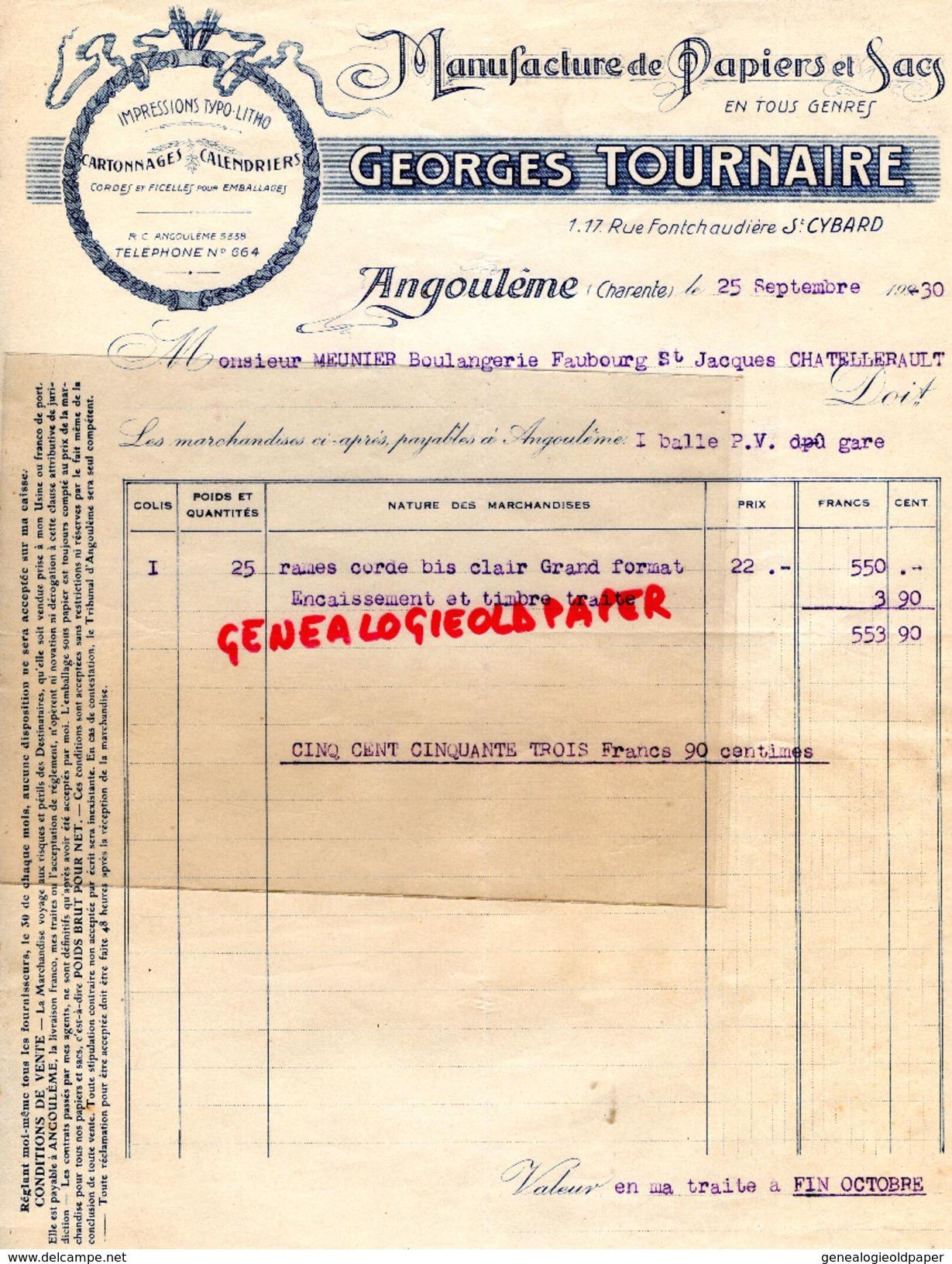 16 -ANGOULEME -FACTURE MANUFACTURE PAPIERS PAPETERIE IMPRIMERIE- GEORGES TOURNAIRE-1 RUE FONTCHAUDIERE SAINT CYBARD-1930 - Papeterie