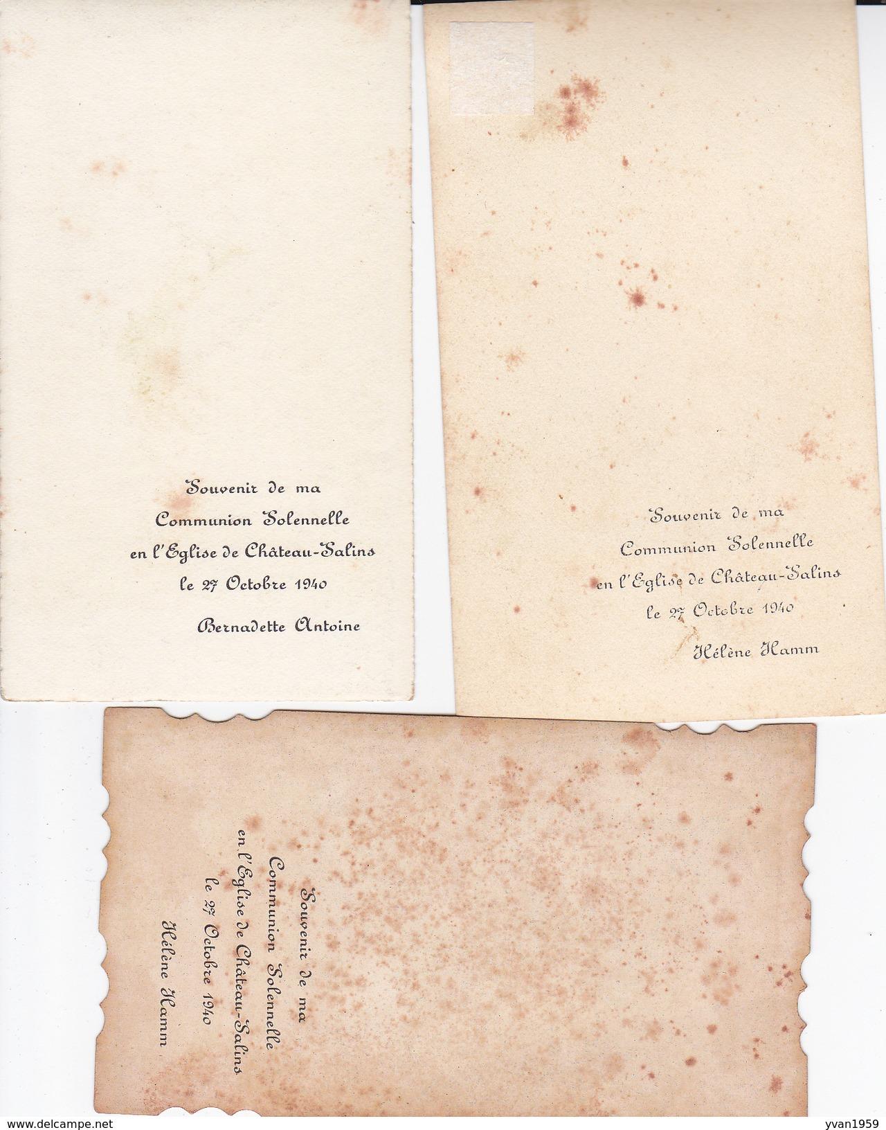 CHATEAU-SALINS..3 CARTES.6X10 CM1940 - Communion