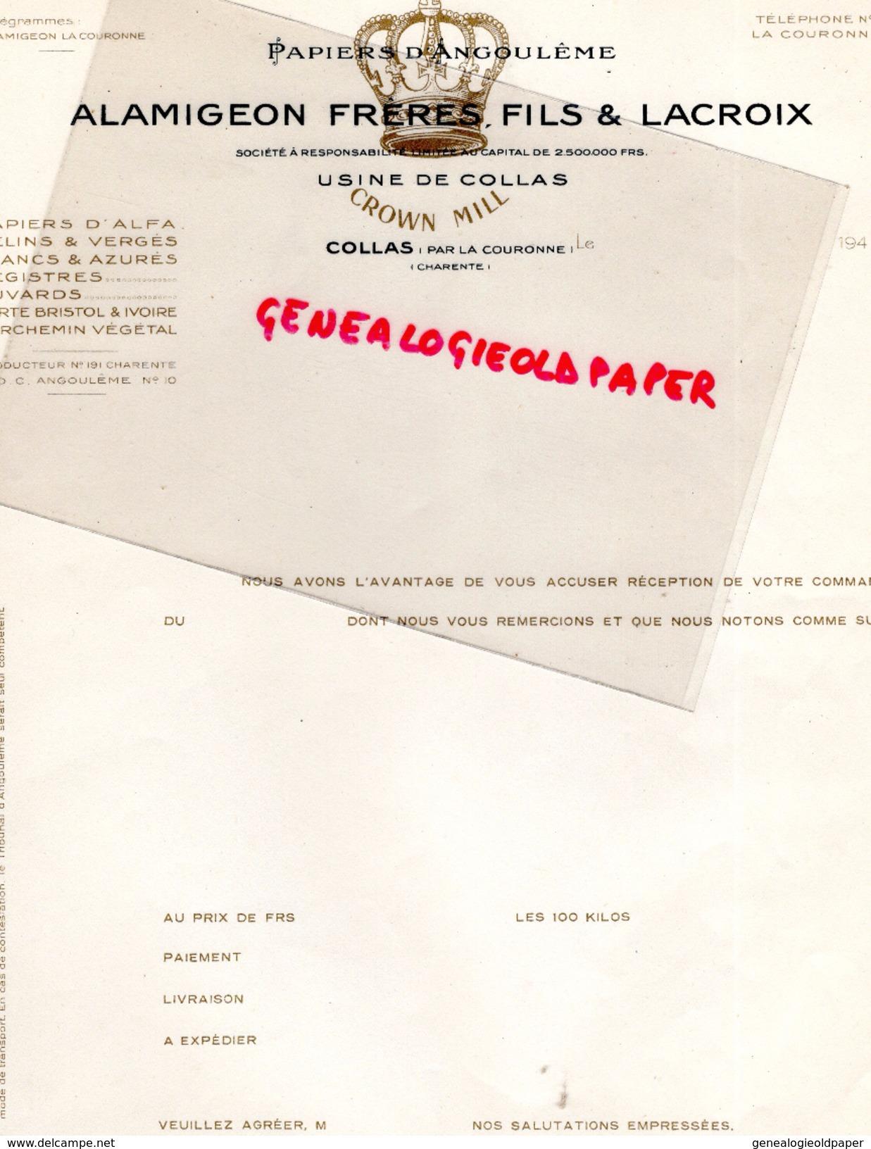 16 - COLLAS PAR LA COURONNE- FACTURE ALAMIGEON FRERES FILS & LACROIX- PAPIERS D' ANGOULEME- PAPETERIE IMPRIMERIE-1940 - Papeterie