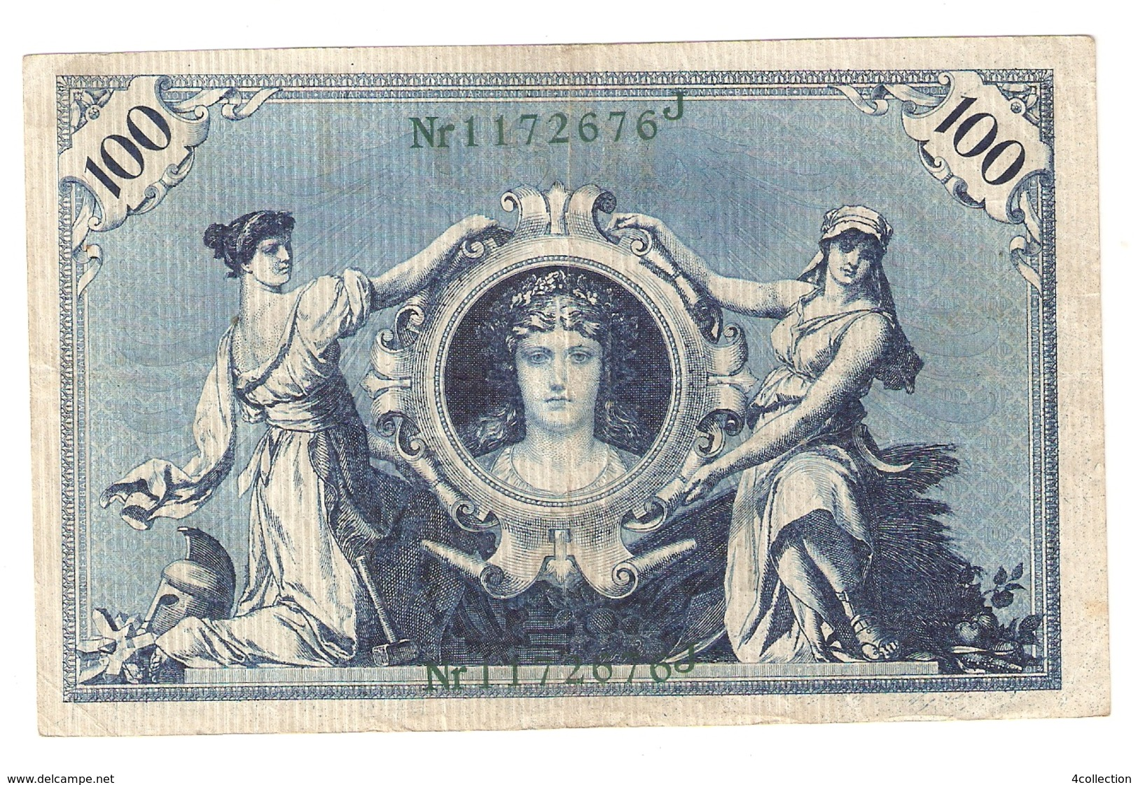 Pa6. Germany German Empire 100 Mark 1908 Reichsbanknote Green Seal & Ser. 1172676 J - [ 2] 1871-1918 : Duitse Rijk