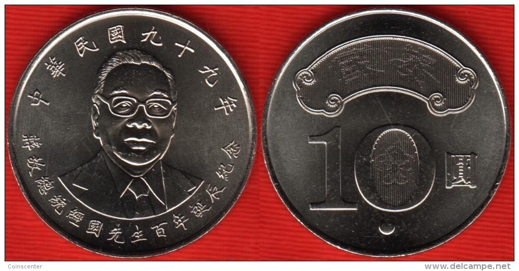 """Taiwan 10 Yuan 2010 """"Chiang Ching - Kuo"""" UNC - Taiwan"""