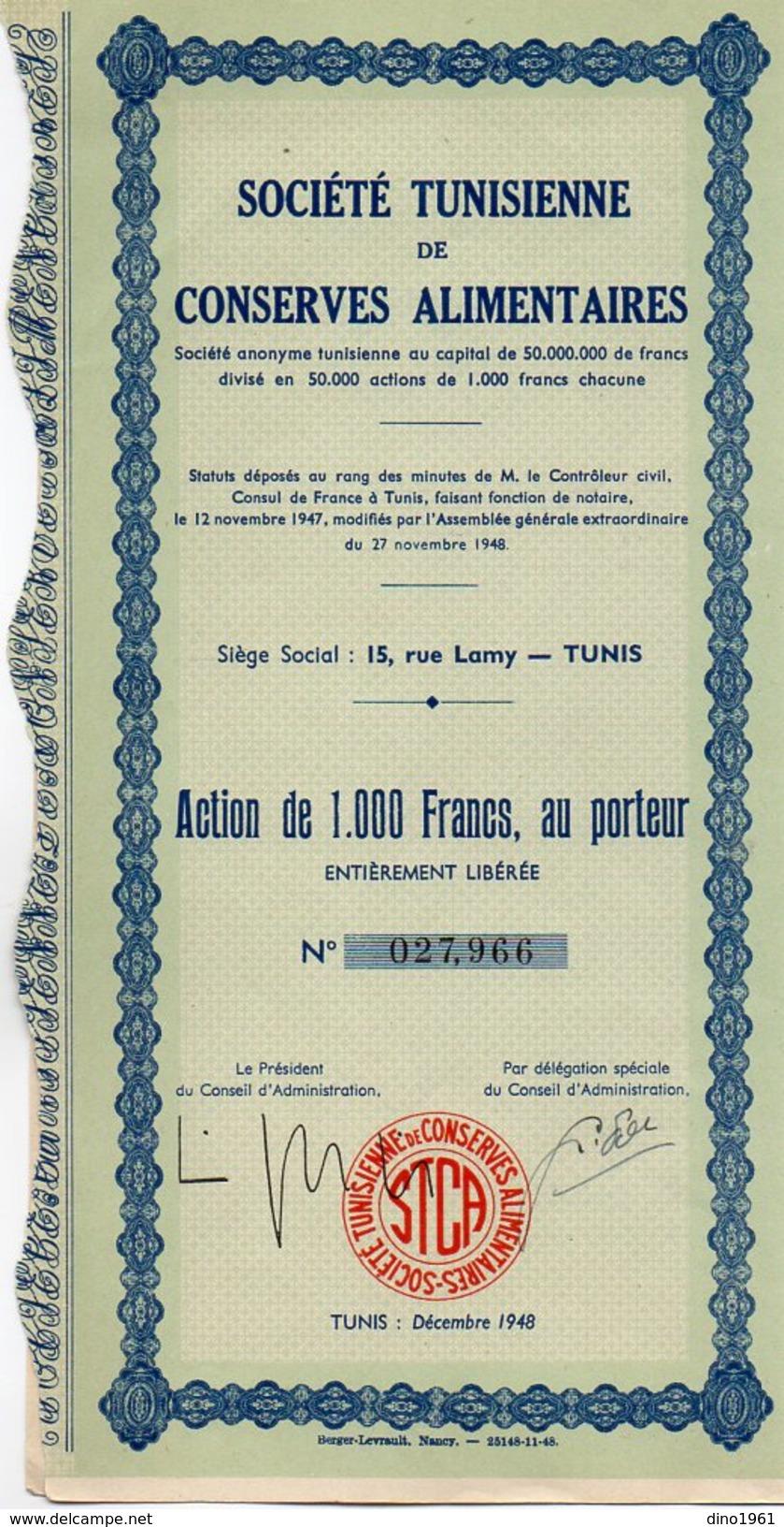VP9920 - TUNIS 1948 - Action - Société Tunisienne De Conserves Alimentaires - Afrique