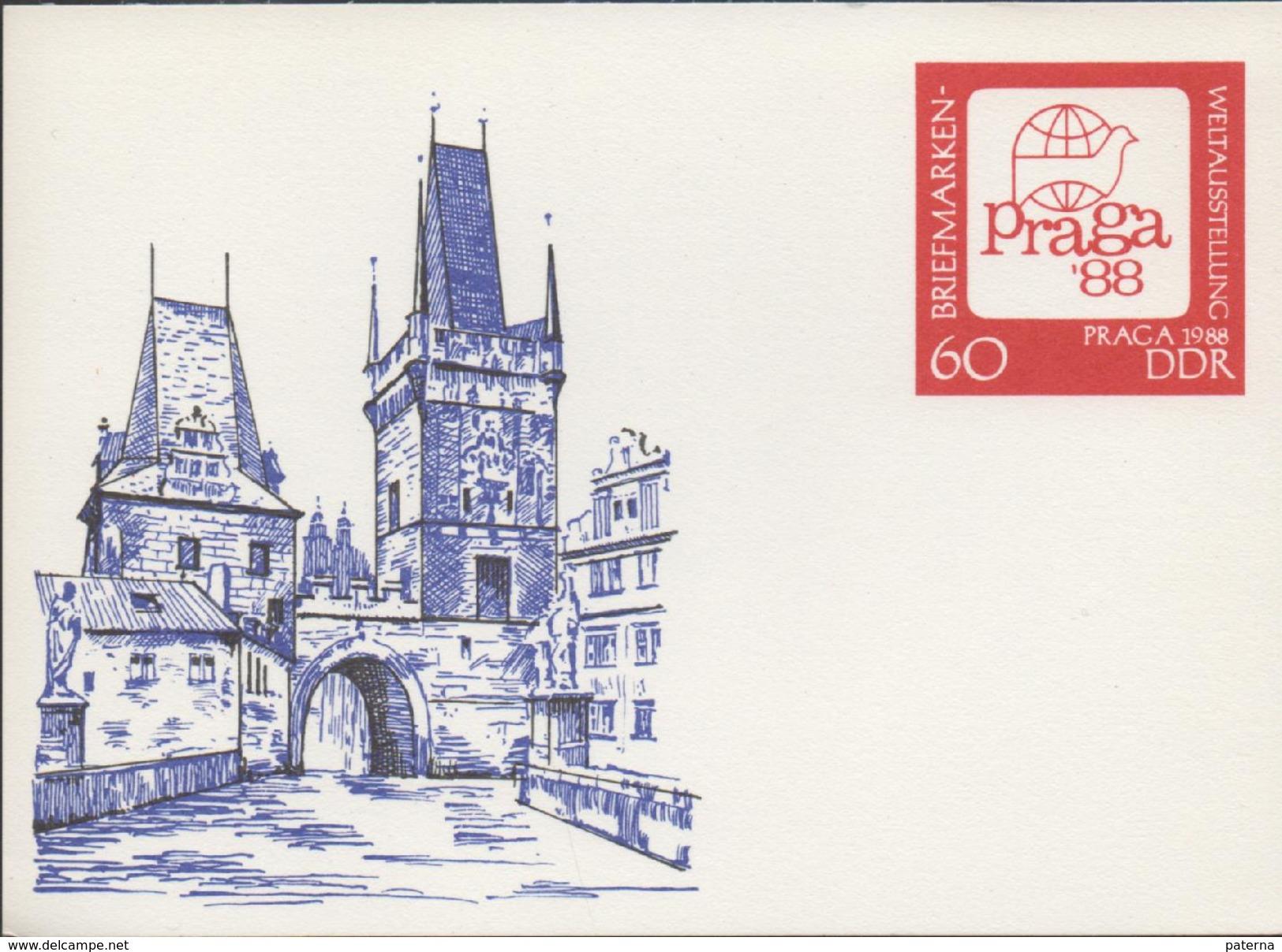 3132   Entero  Postal  Praga 1988  Alemania, DDR Briefmarken - [6] República Democrática