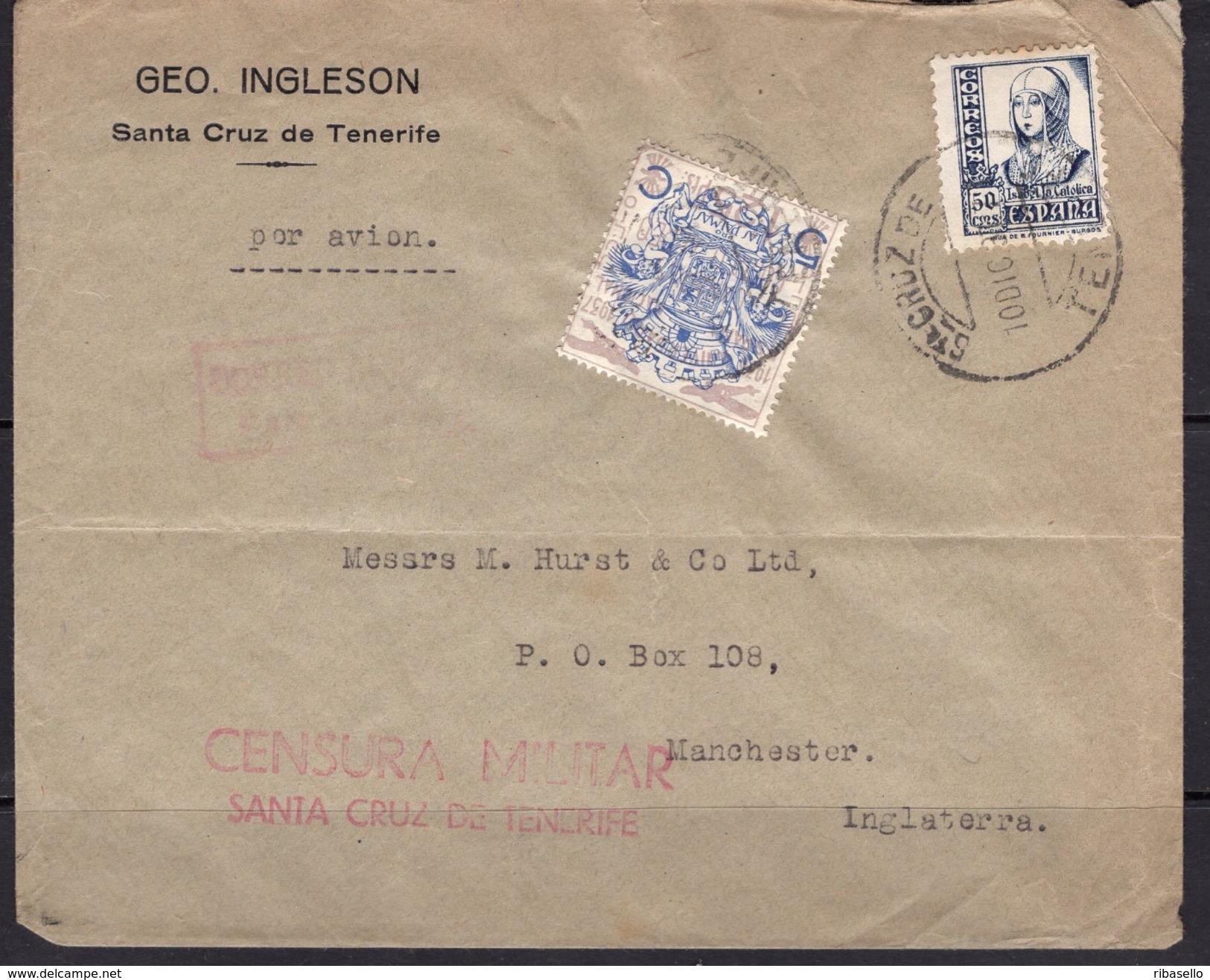 España 1938. Canarias. Carta De Tenerife A Manchester. Censura. - Marcas De Censura Nacional