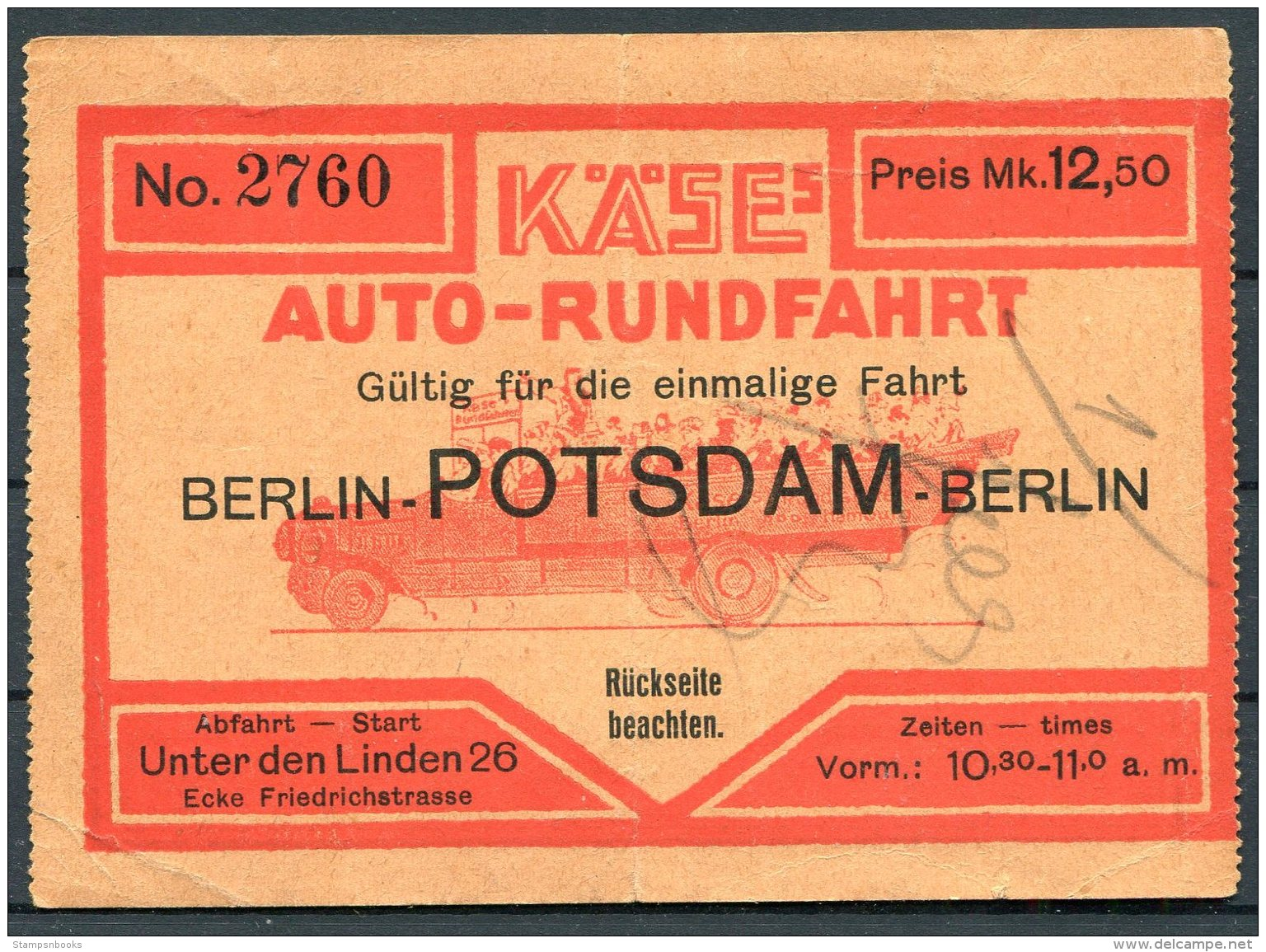 Germany Berlin - Potsdam - Berlin Auto-Rundfahrten, Thomas Cook & Son Ticket - Transportation