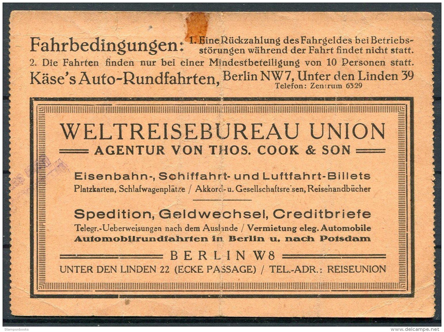 Germany Berlin - Potsdam - Berlin Auto-Rundfahrten, Thomas Cook & Son Ticket - Other