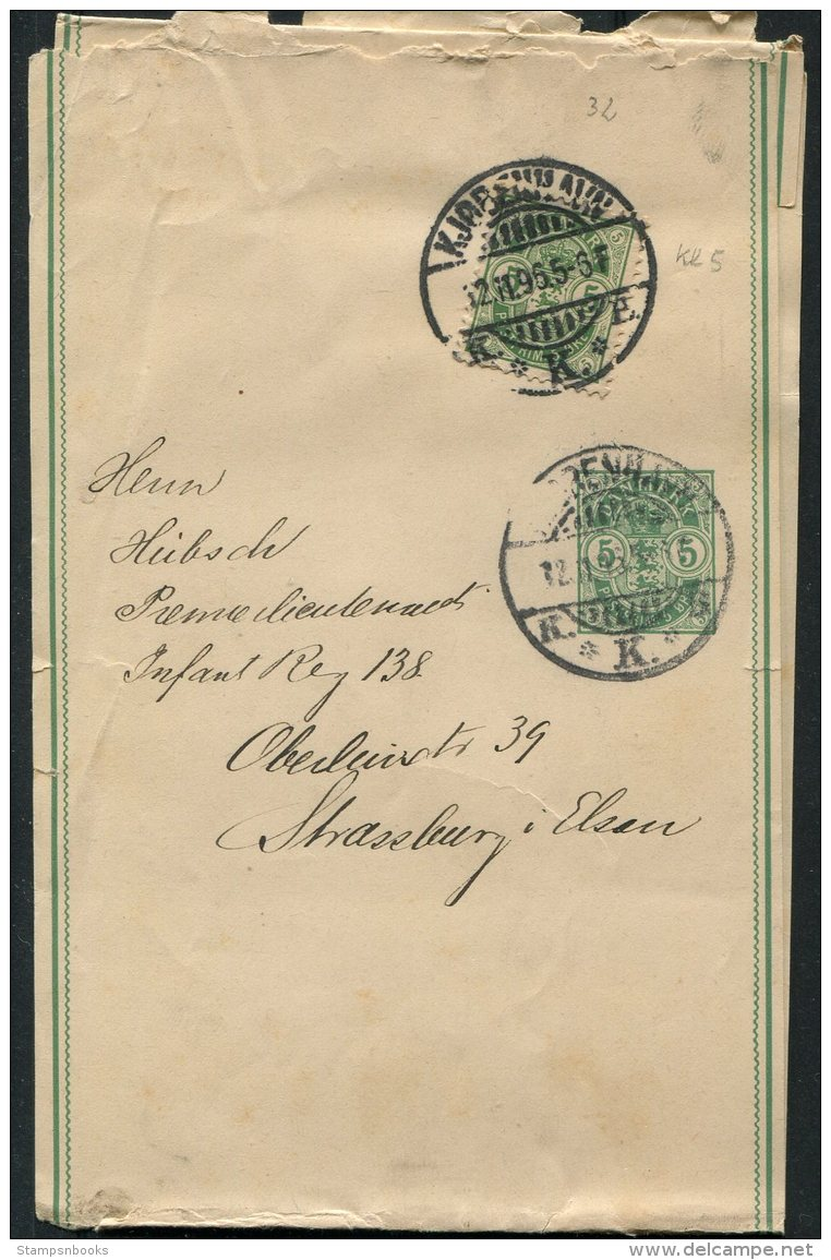 1896 Denmark Uprated 5 Ore Stationery Wrapper Copenhagen - Infantry Regiment, Strassbourg, Alsace - Covers & Documents