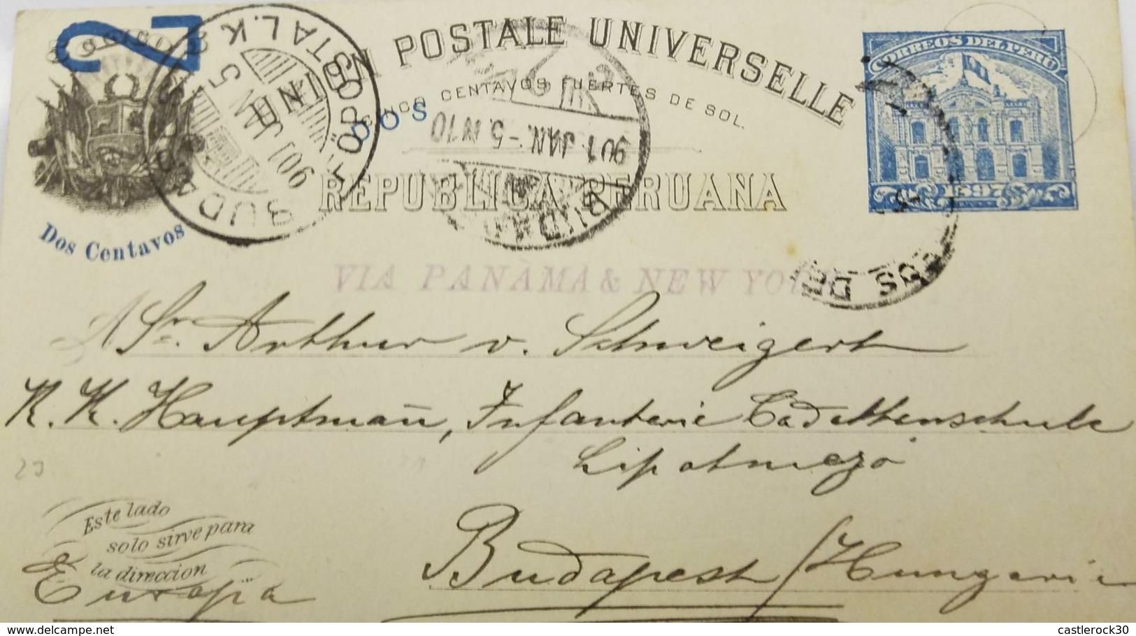 O) 1900 PERU, UPU, 2 CENTAVOS FUERTES DE SOL, POSTAL STATIONERY VIA PANAMA AND  NEW YORK  TO HUNGARY, POST AND TELEGRAPH - Peru