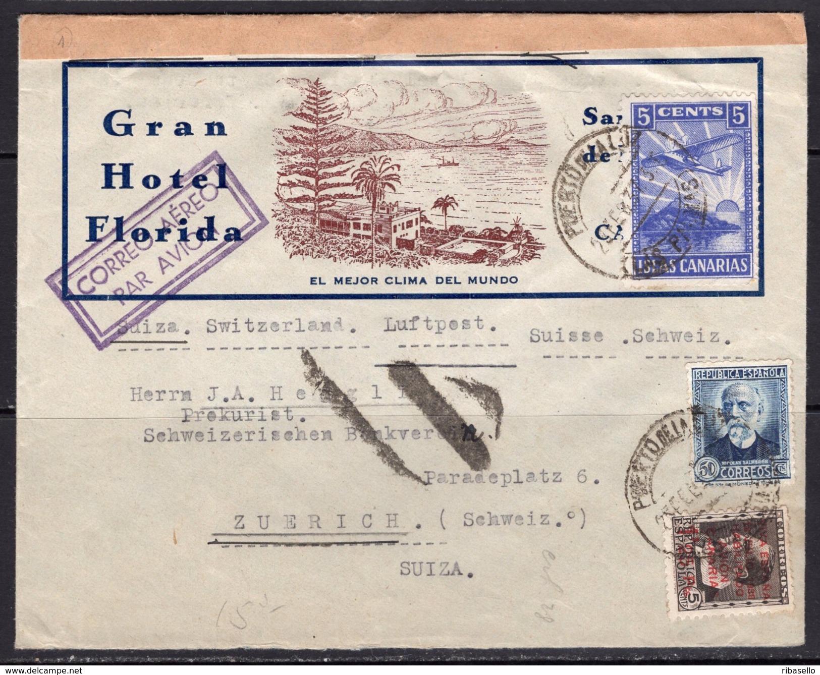 España 1937. Canarias. Carta De Las Palmas A Zurich. Censura. - Marcas De Censura Nacional
