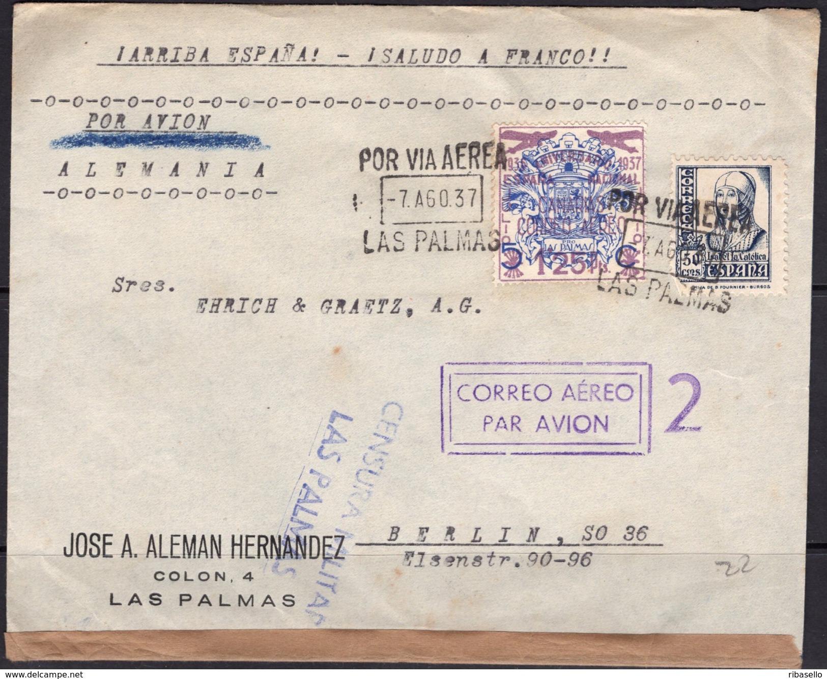 España 1937. Canarias. Carta De Las Palmas A Berlin. Censura. - Marcas De Censura Nacional