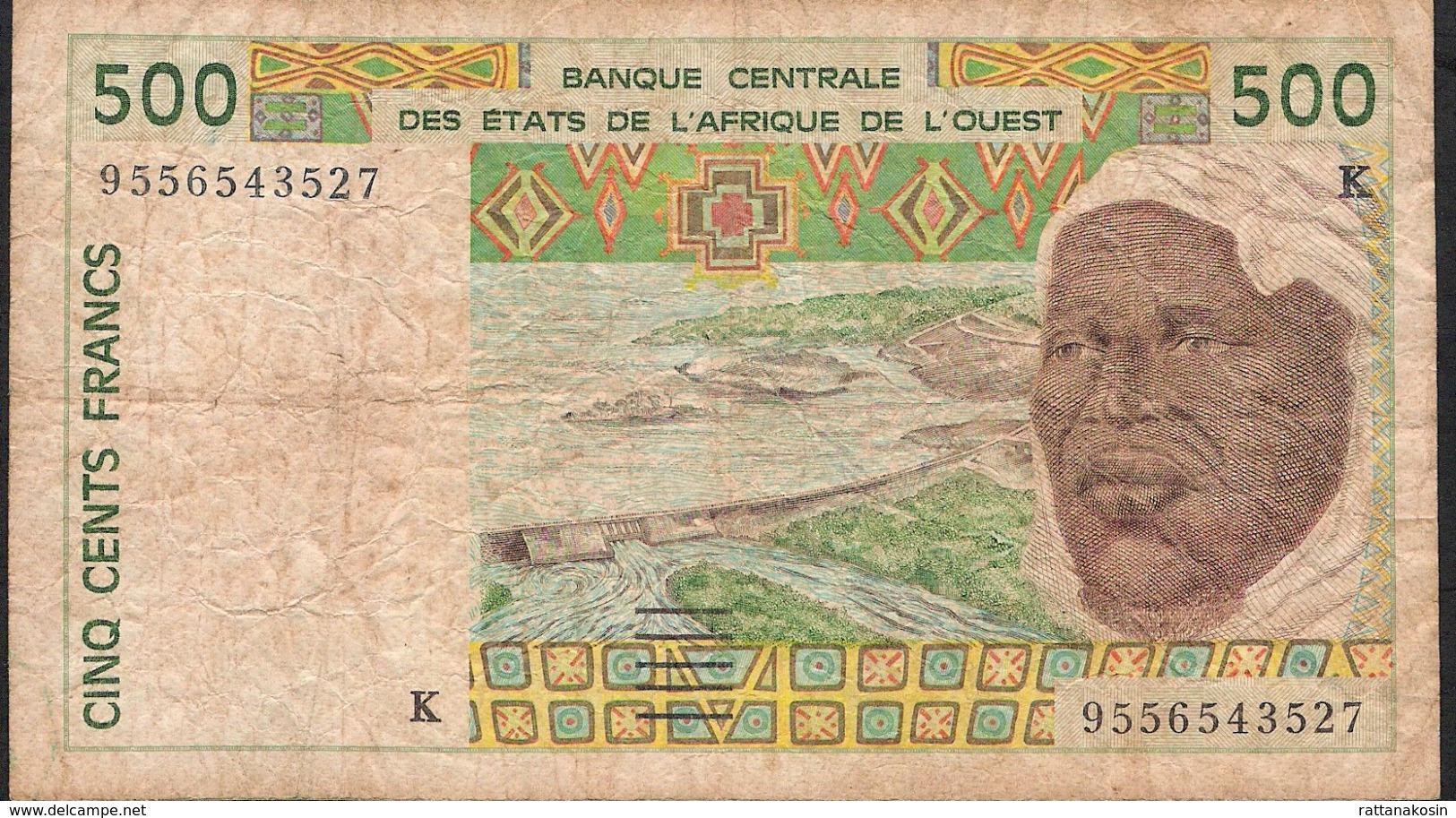 W.A.S. LETTER K SENEGAL P710Ke 500 FRANCS (19)95  FINE 3 P.h. ! - Sénégal