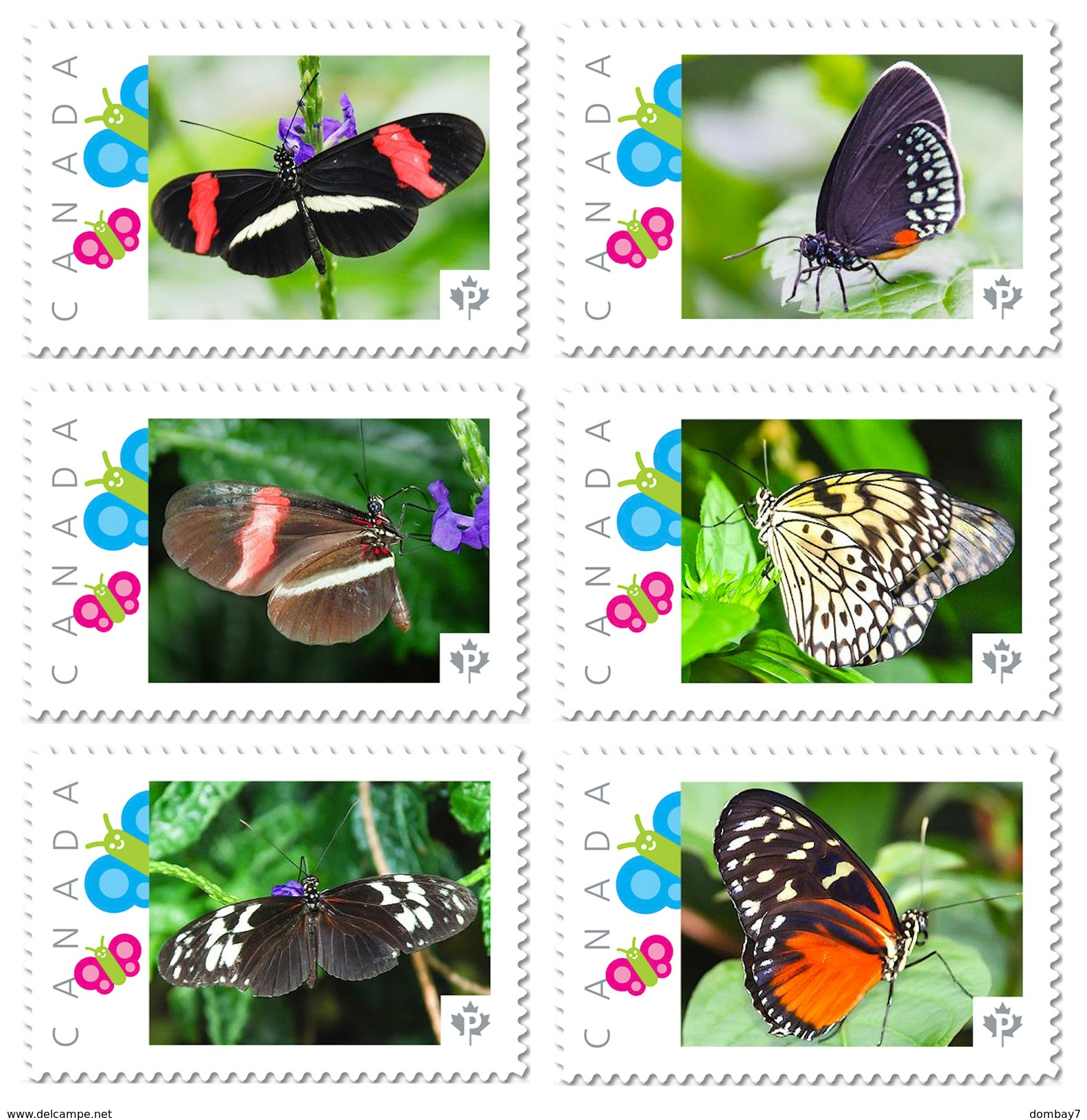 BUTTERFLY COLLECTION Of 6 Unique Picture Postage Stamps Canada 2017 P17-04bt6 - Butterflies