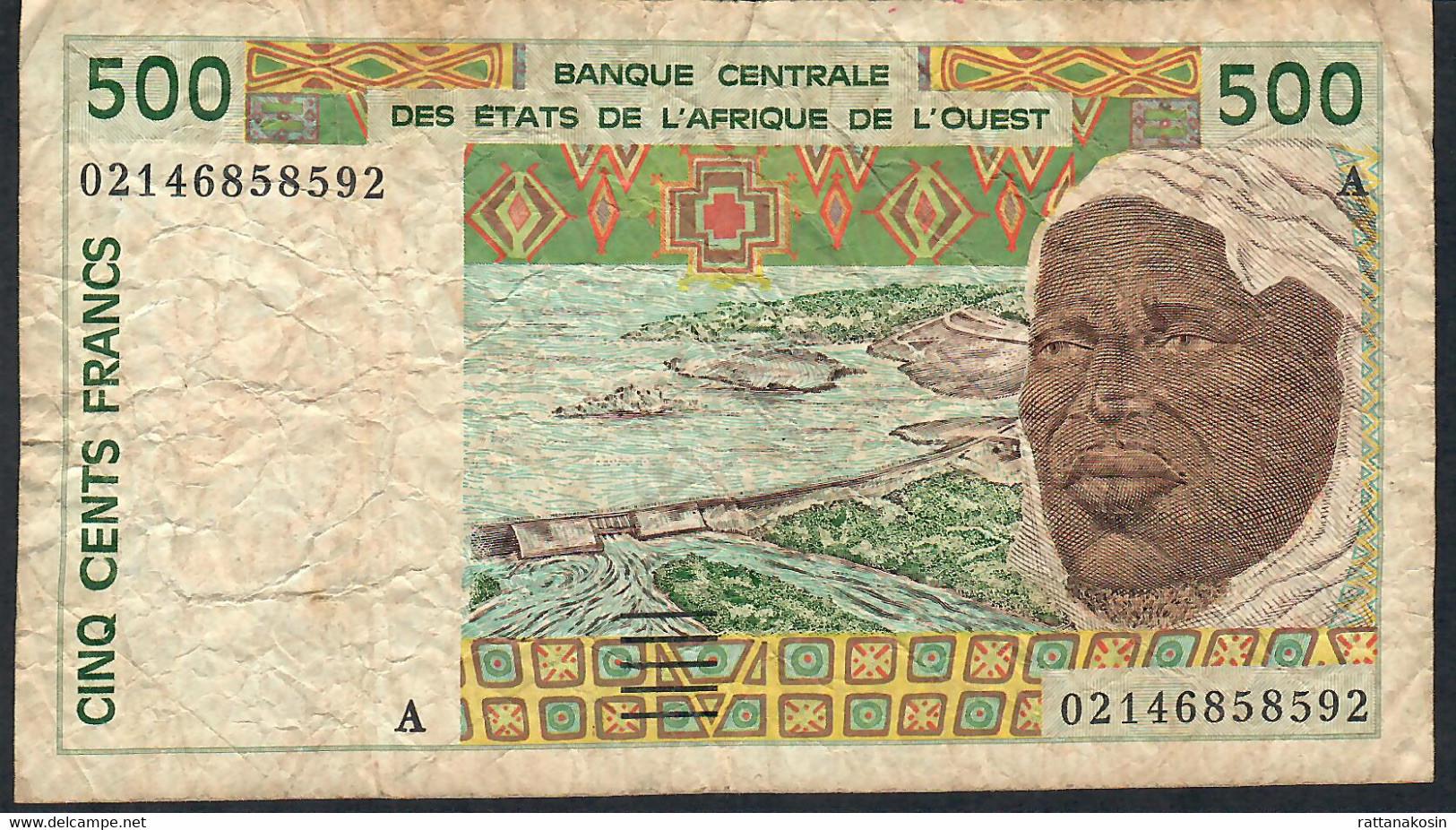 W.A.S. LETTER A  IVORY COST   P110Am 500 FRANCS (20)02  FINE NO P.h. ! - Côte D'Ivoire