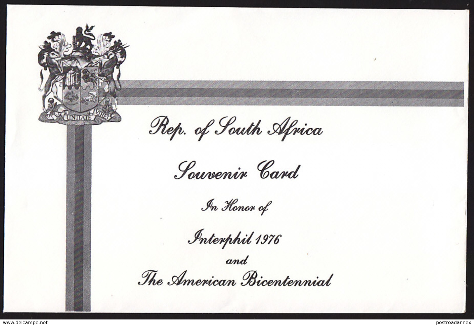 South Africa, Scott #Souvenir Card, Used, 200th Anniversary Of American Independence, Issued 1976 - Other