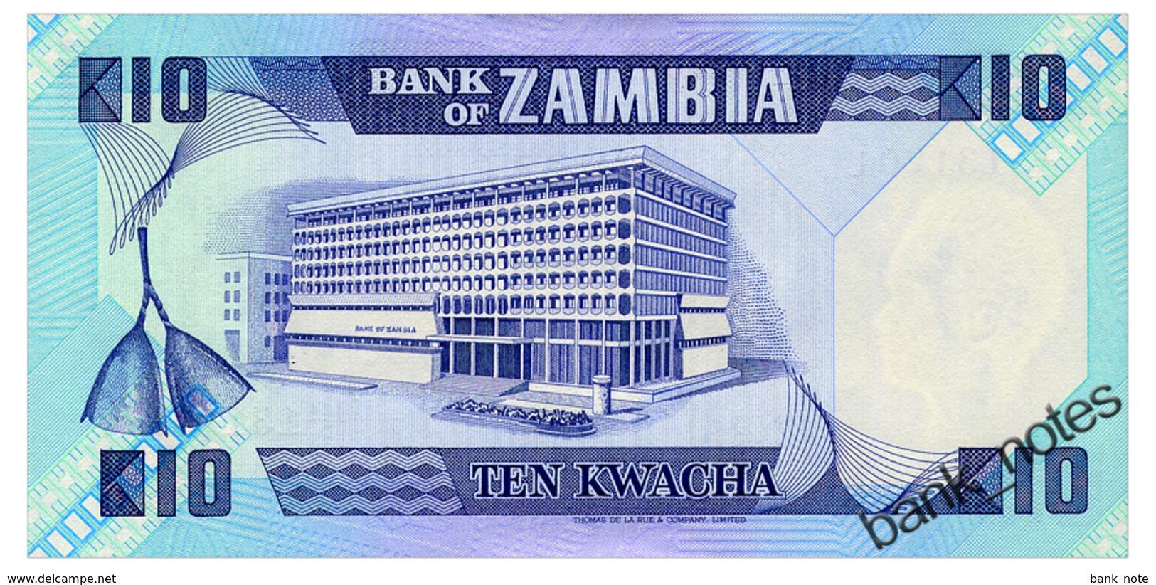 ZAMBIA 10 KWACHA ND(1980-88) Pick 26e Unc - Zambia