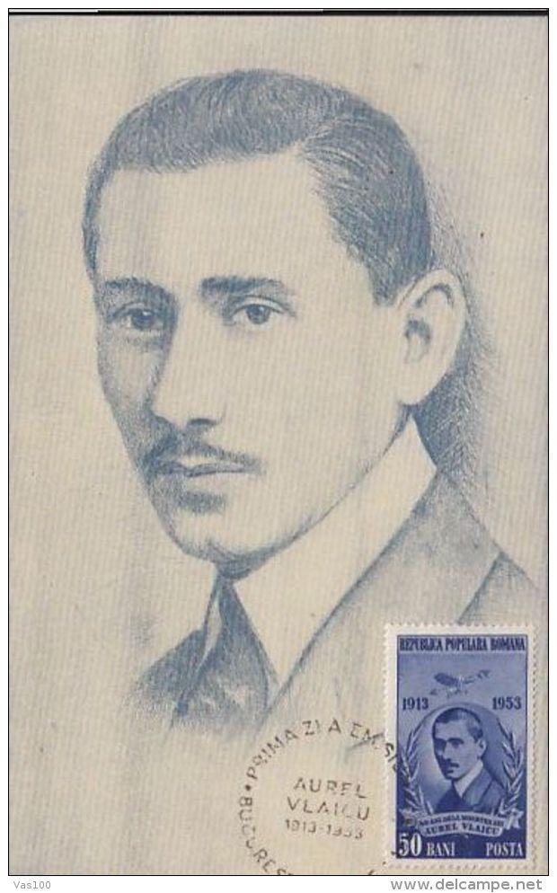 PLANE, AUREL VLAICU, AVIATION PIONEER, CM, MAXICARD, CARTES MAXIMUM, 1953, ROMANIA - Airplanes