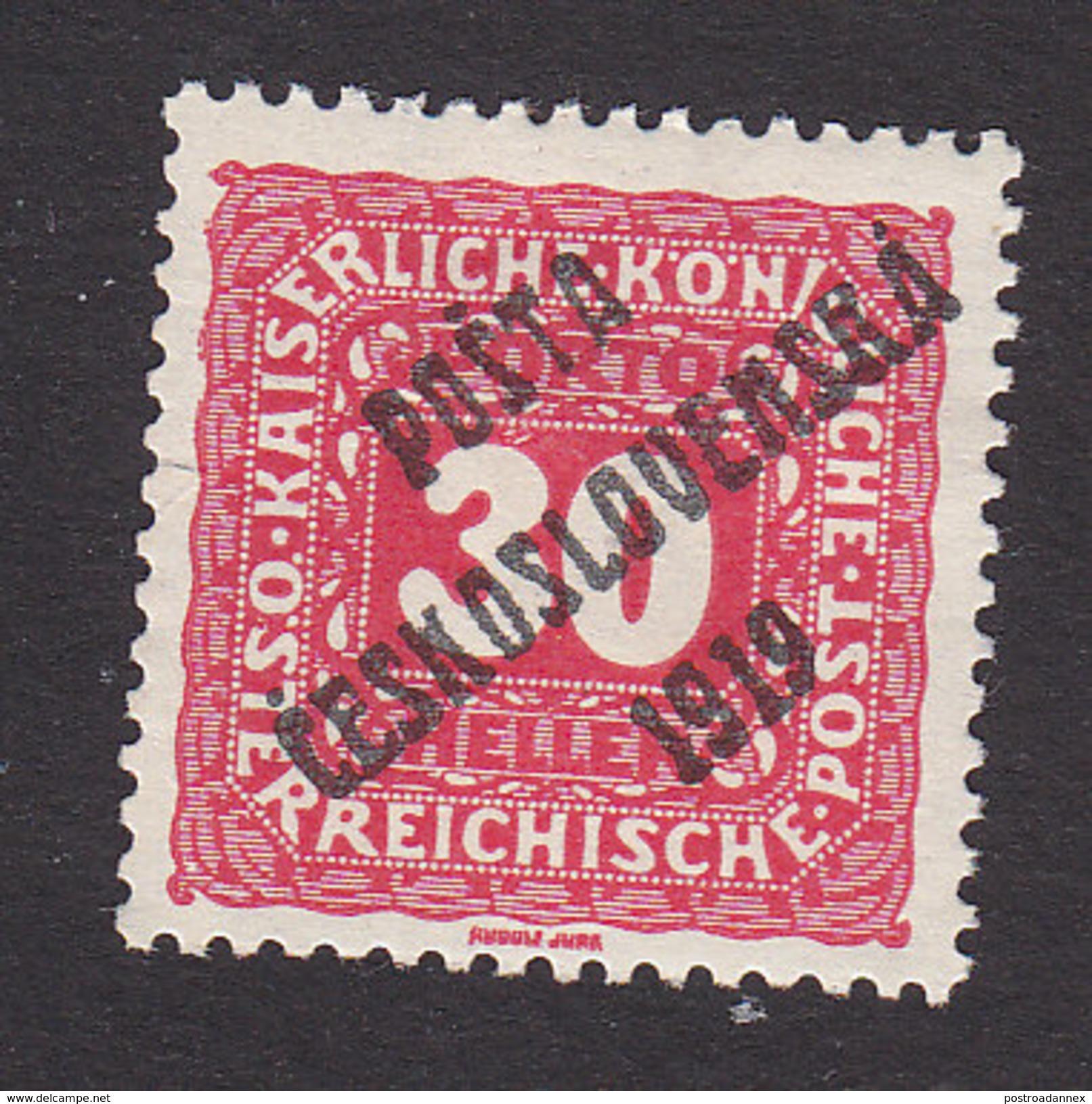 Czechoslovakia, Scott #B52, Mint Hinged, Austrian Stamp Overprinted, Issued 1919 - Unused Stamps