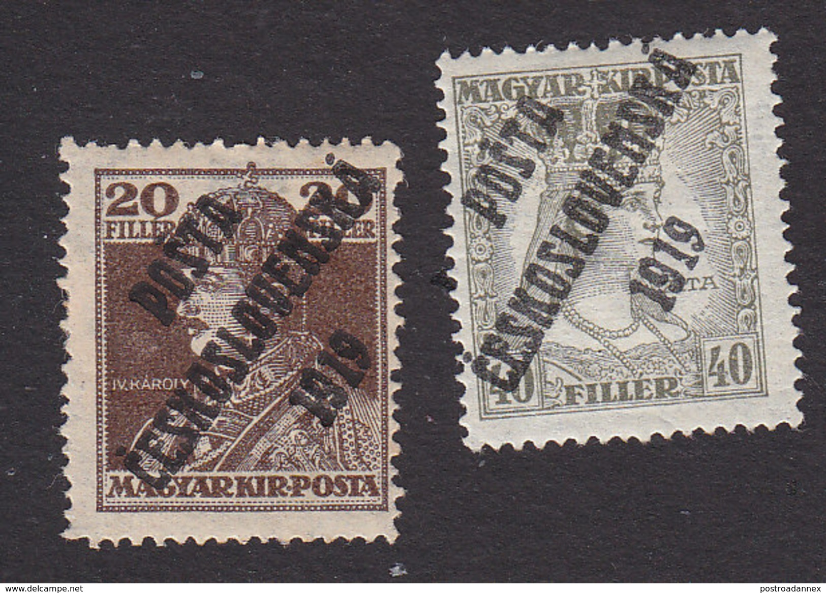 Czechoslovakia, Scott #B92, B94, Mint Hinged, Hungarian Stamps Overprinted, Issued 1919 - Czechoslovakia