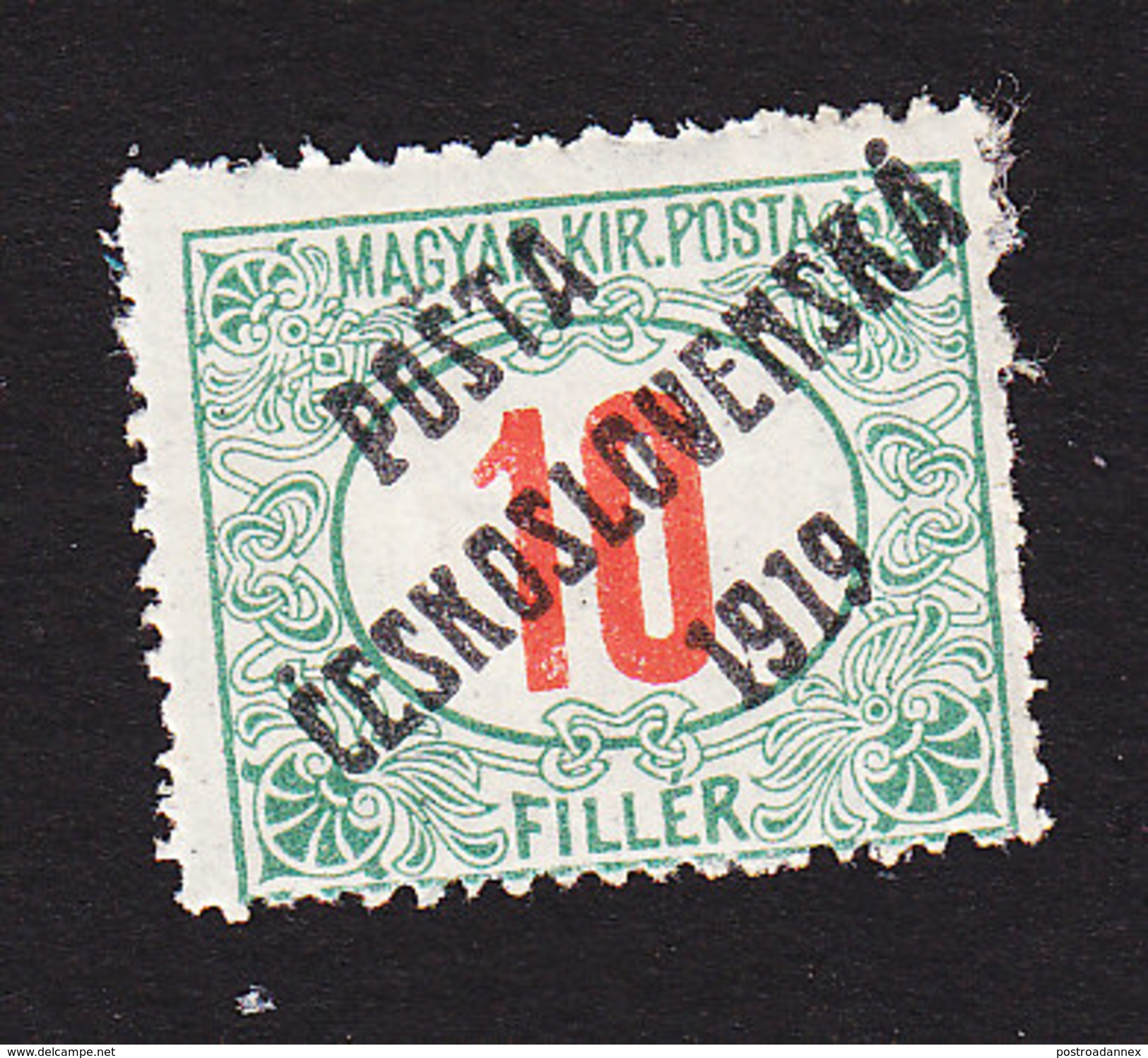 Czechoslovakia, Scott #B119, Mint Hinged, Hungarian Stamps Overprinted, Issued 1919 - Czechoslovakia