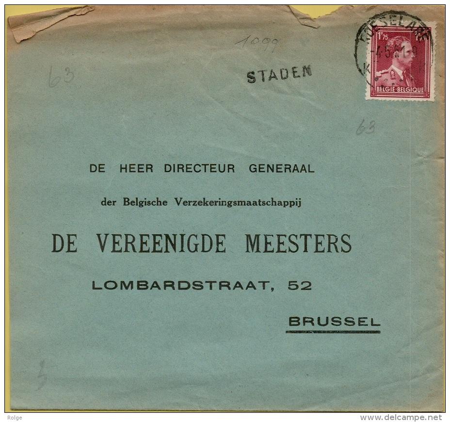 XXL-1099     STATIONSNAAMSTEMPEL   STADEN        Verzonden Via  ROESELAERE - Marcophilie