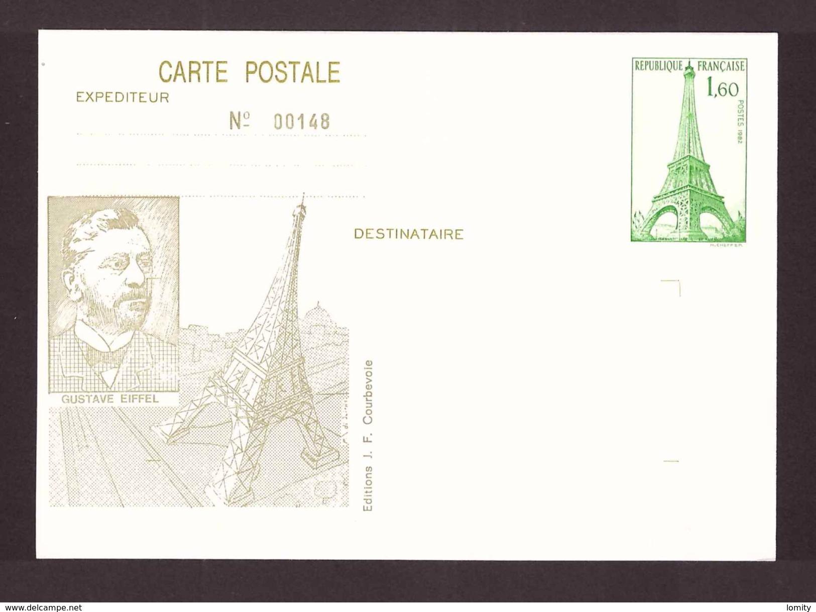 France Entier Postal Paris Tour Eiffel 1982 Gustave Eiffel - Overprinter Postcards (before 1995)