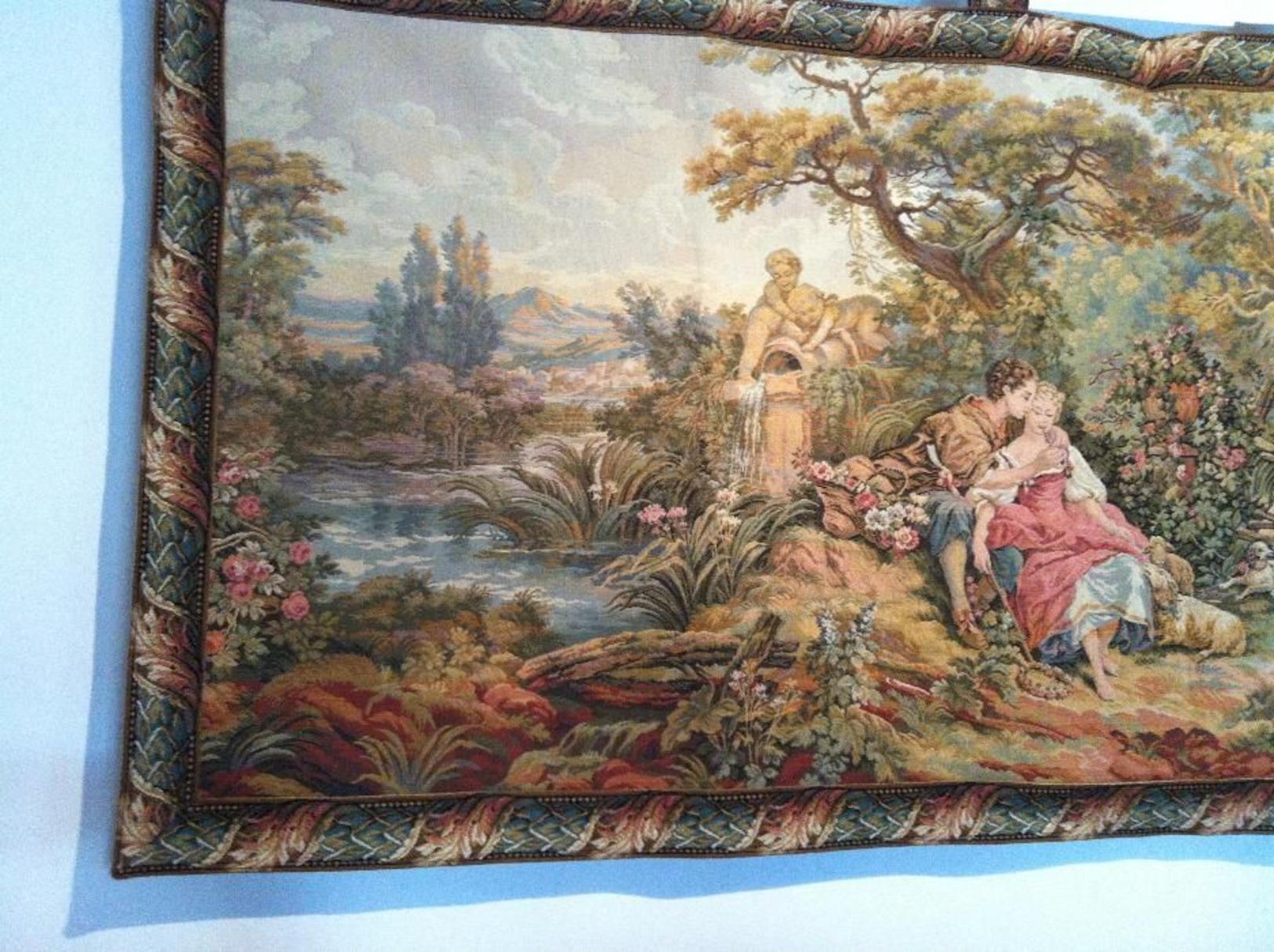 """Painel, Tapisserie Murale """"Gobelins"""". Sur Le Tème Le  R.d.v. Des Amoureux. - Tapis & Tapisserie"""