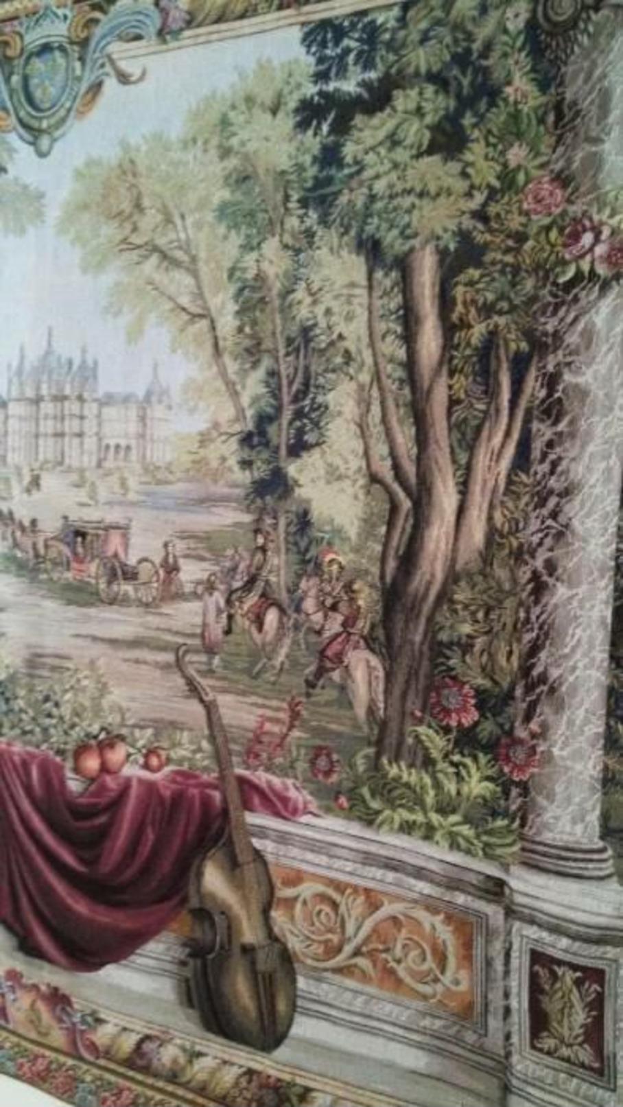 """Joyaux De La Tapisserie Française Painel Original Gobelin Sur  Le Tème De  """" Vue Du Palais D'Enghien Et Jardins """"  -10% - Tapis & Tapisserie"""