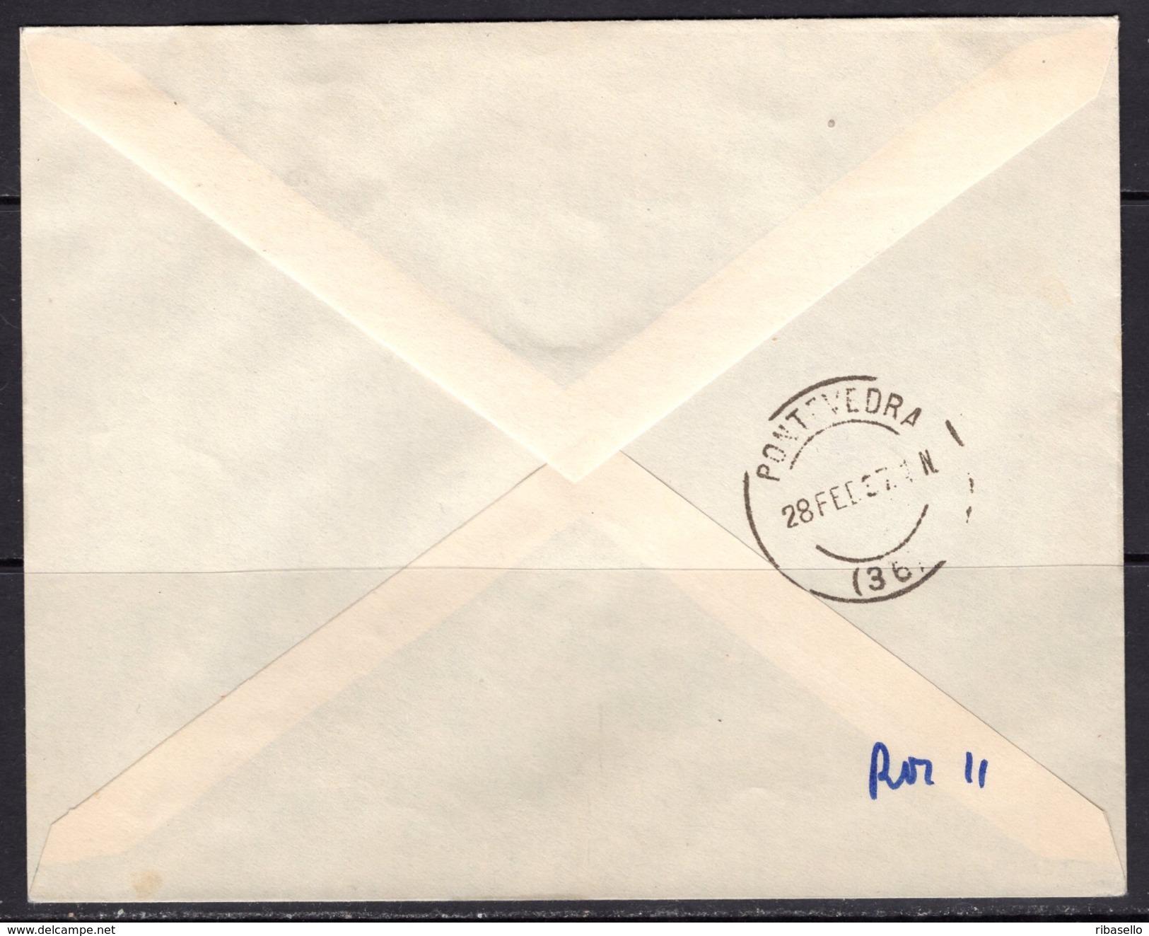 España 1937. Canarias. Carta De Las Palmas A Pontevedra. Censura. - Marcas De Censura Nacional