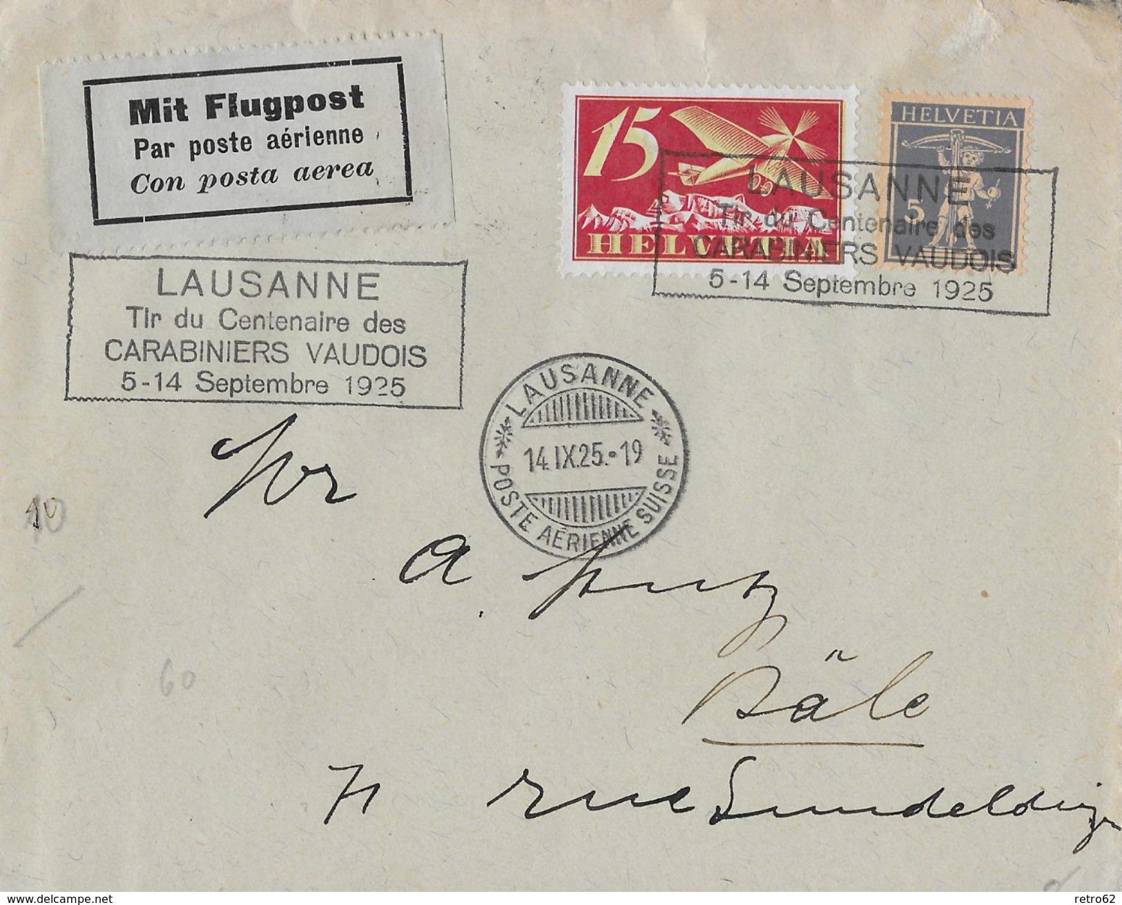 1925 LAUSANNE (Tir Du Centenaire Des CARABINIERS VAUDOIS)  ►SBK-F3,157◄ - Poste Aérienne