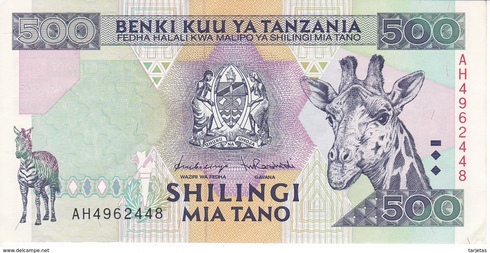 BILLETE DE TANZANIA DE 500 SHILINGI DEL AÑO 1997 CALIDAD EBC (XF) (BANKNOTE) JIRAFA-GIRAFFE-CEBRA-ZEBRA - Tanzania