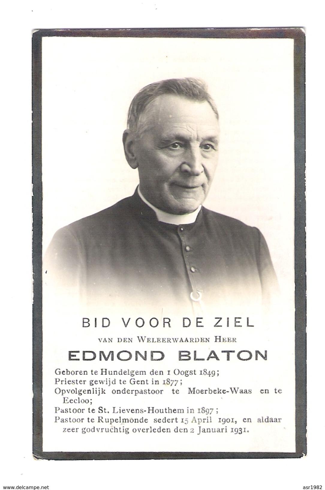 Doodsprentje Pastoor - Priester : Hundelgem-Moerbeke-Waas-Eeklo-Sint-Lievens-Houtem-Rupelmonde. - Religion & Esotericism