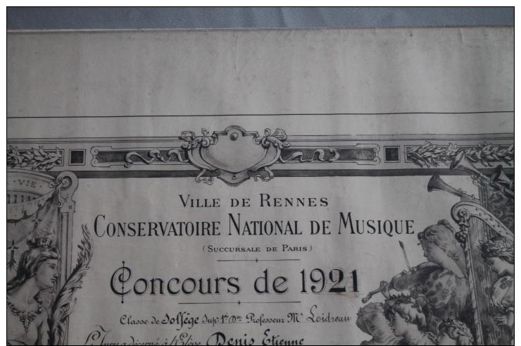 Diplome  Du Conservatoire De Musique  De Rennes 1921 - Diploma & School Reports