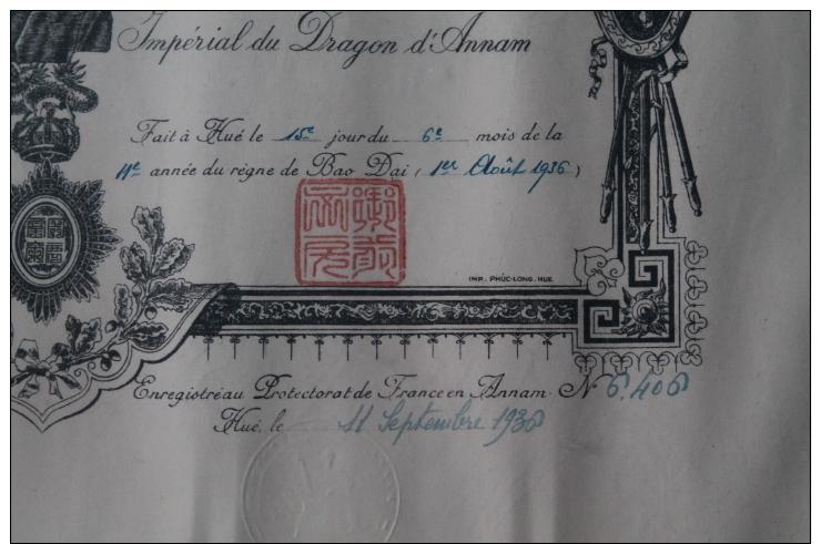 Certificat De Chevalier De L'ordre Du Dragon D'annam 1936 Avec Sa Lettre D'envoi En Bambou  INDOCHINE - Médailles & Décorations