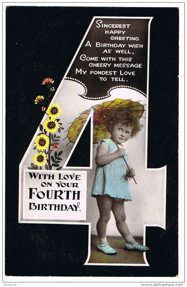 RB 1153 - Early Greetings Postcard - Girl With Umbrella Parasol - Happy 4th Birthday - Children