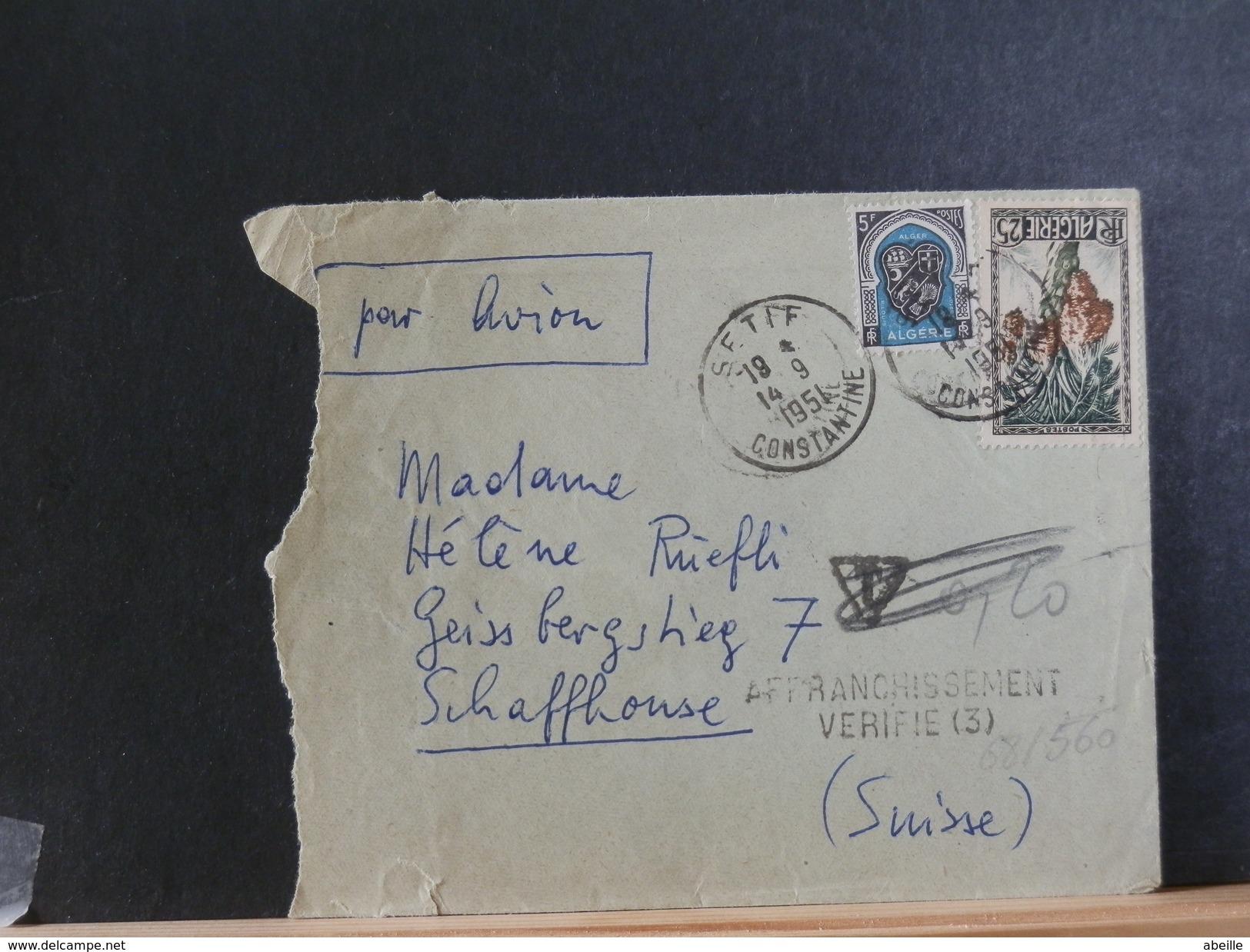 68/560   LETTRE  POUR LA SUISSE  1951   GRIFFE  AFFR. VERIFIE - Algeria (1924-1962)