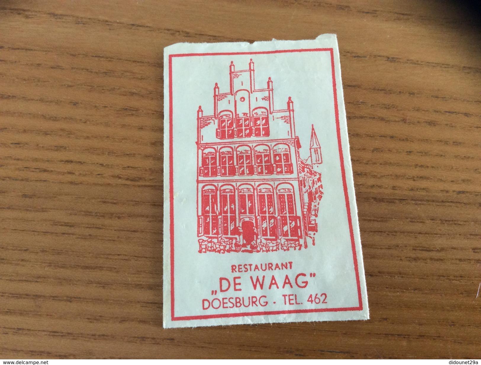 """Ancien Sachet De Sucre Pays-Bas Suiker """"RESTAURANT DE WAAG - DOESBURG"""" Années 60 - Sucres"""