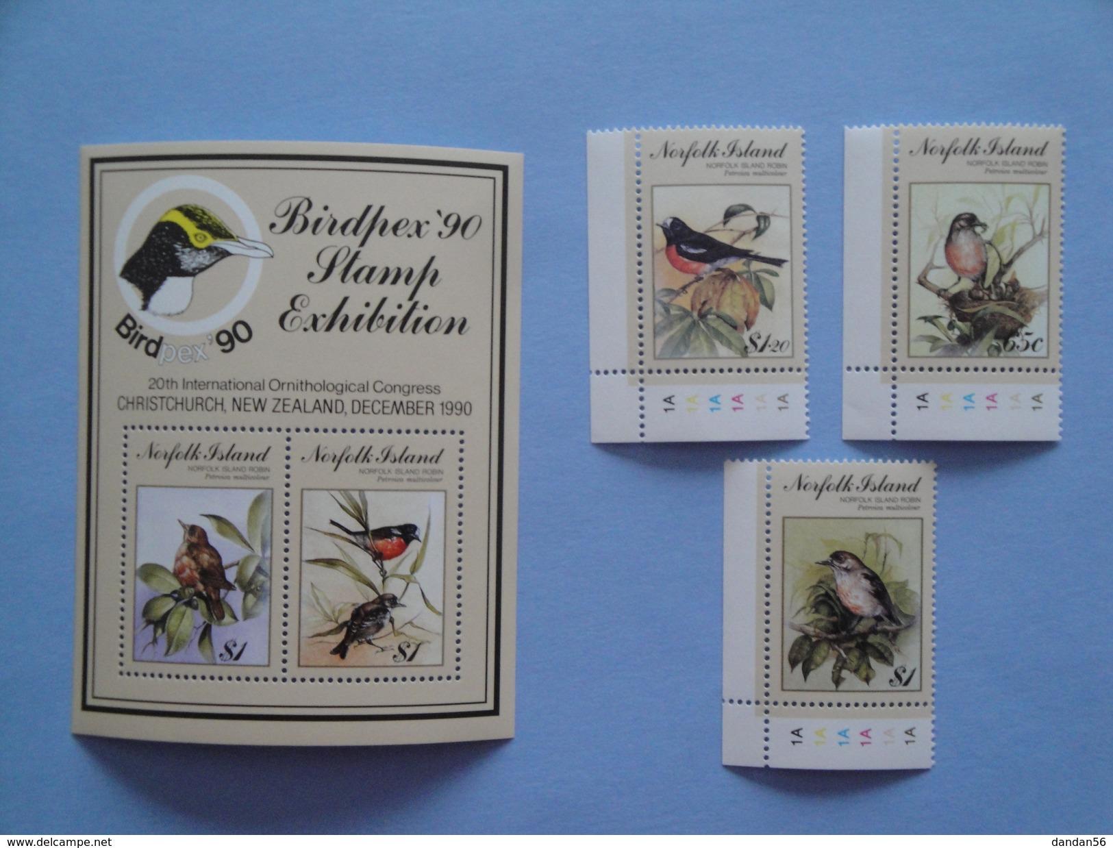 1990 Norfolk Yvert 483/5 + BF 13 ** Oiseaux Birds Scott 497/500 Michel 490/2 + B 13 SG 505/7 + Ms 508 Birdpex 90 - Ile Norfolk