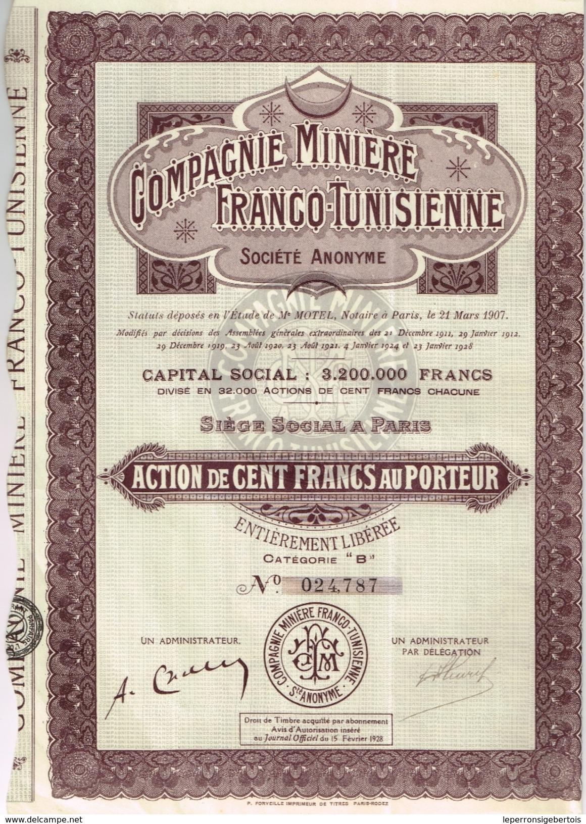 Action Ancienne - Compagnie Minière Franco Tunisienne - Titre De 1928 - Mines