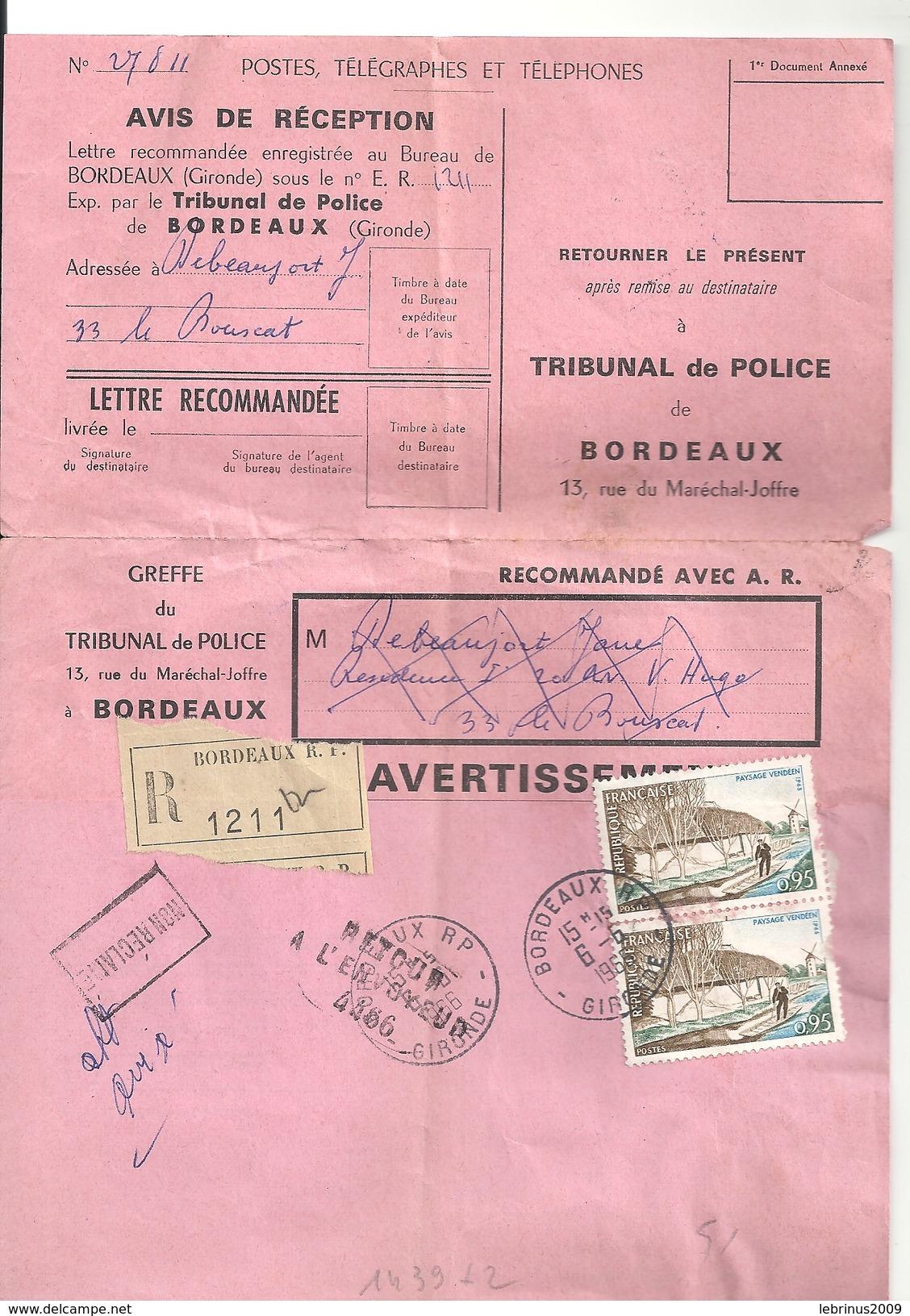 N° 1439 X 2 Sur RECOMMANDE De BORDEAUX Du 6/6/1966 - Tribunal De Police - Marcophilie (Lettres)
