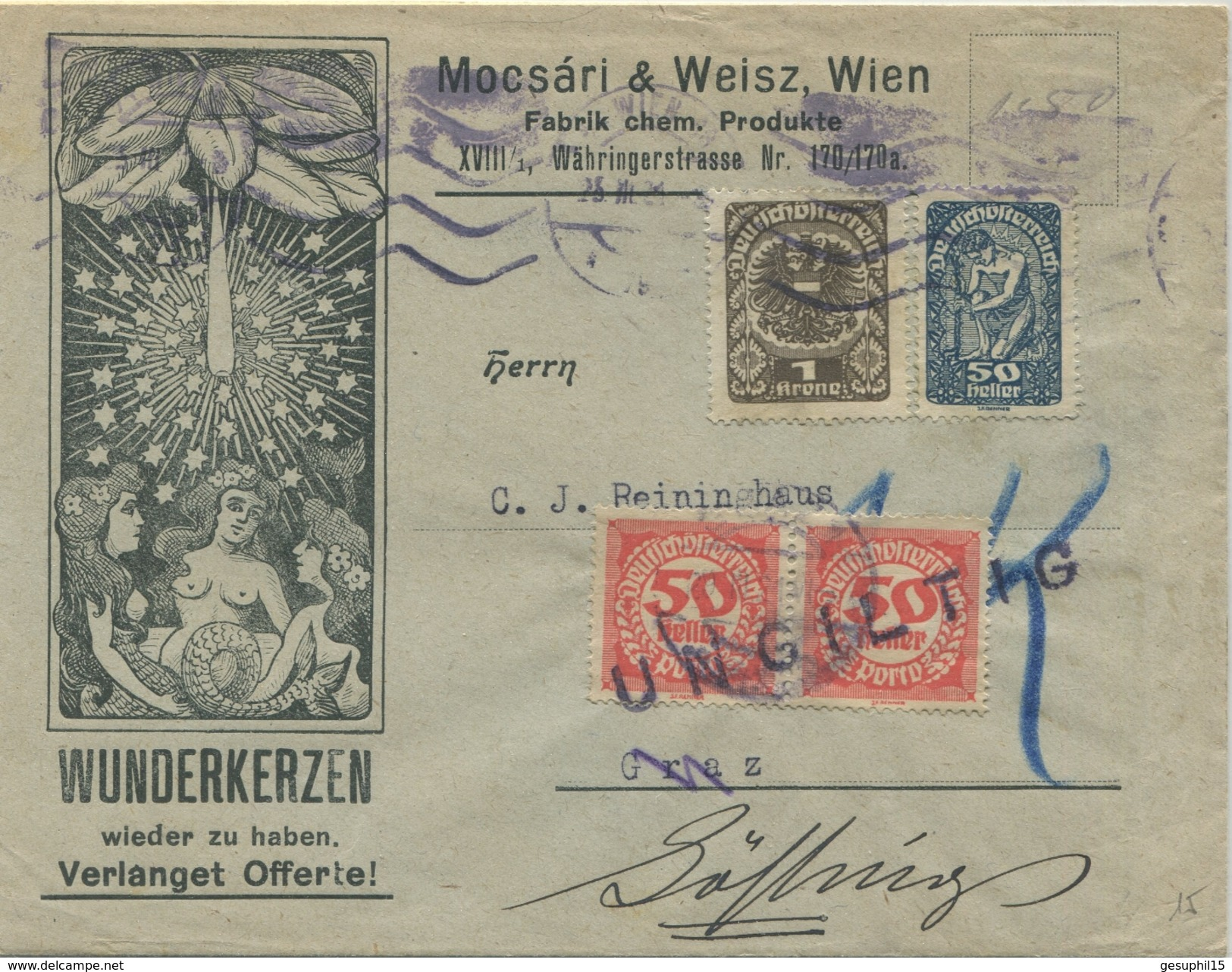 DEUTSCH-ÖSTERREICH / Brief Von Wien Nach Graz Mit Nachportomarken Vom 23.03.1921 (Annahme Des Briefes Wurde Verweigert) - 1918-1945 1. Republik