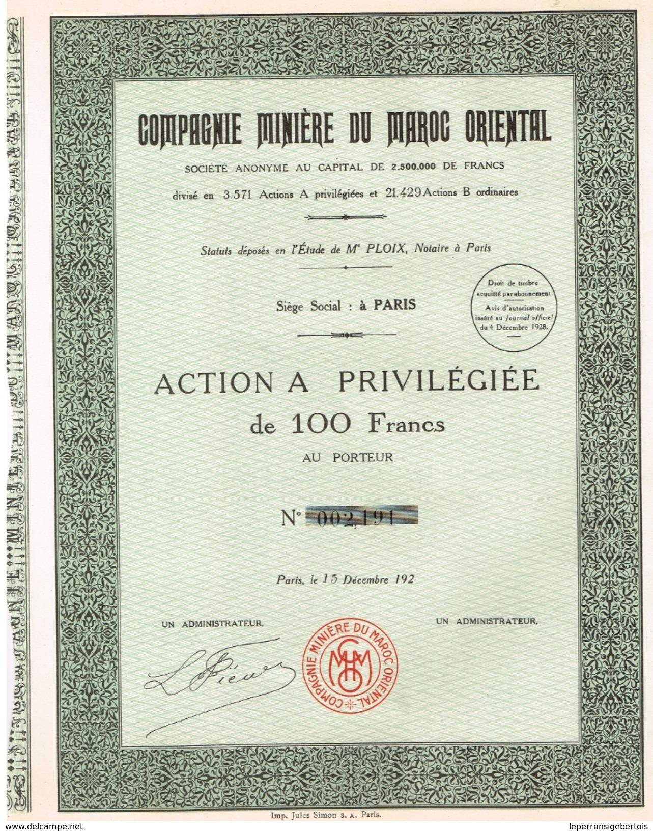 Action Ancienne - Compagnie Minière Du Maroc Oriental - Titre De 1928 - Mines