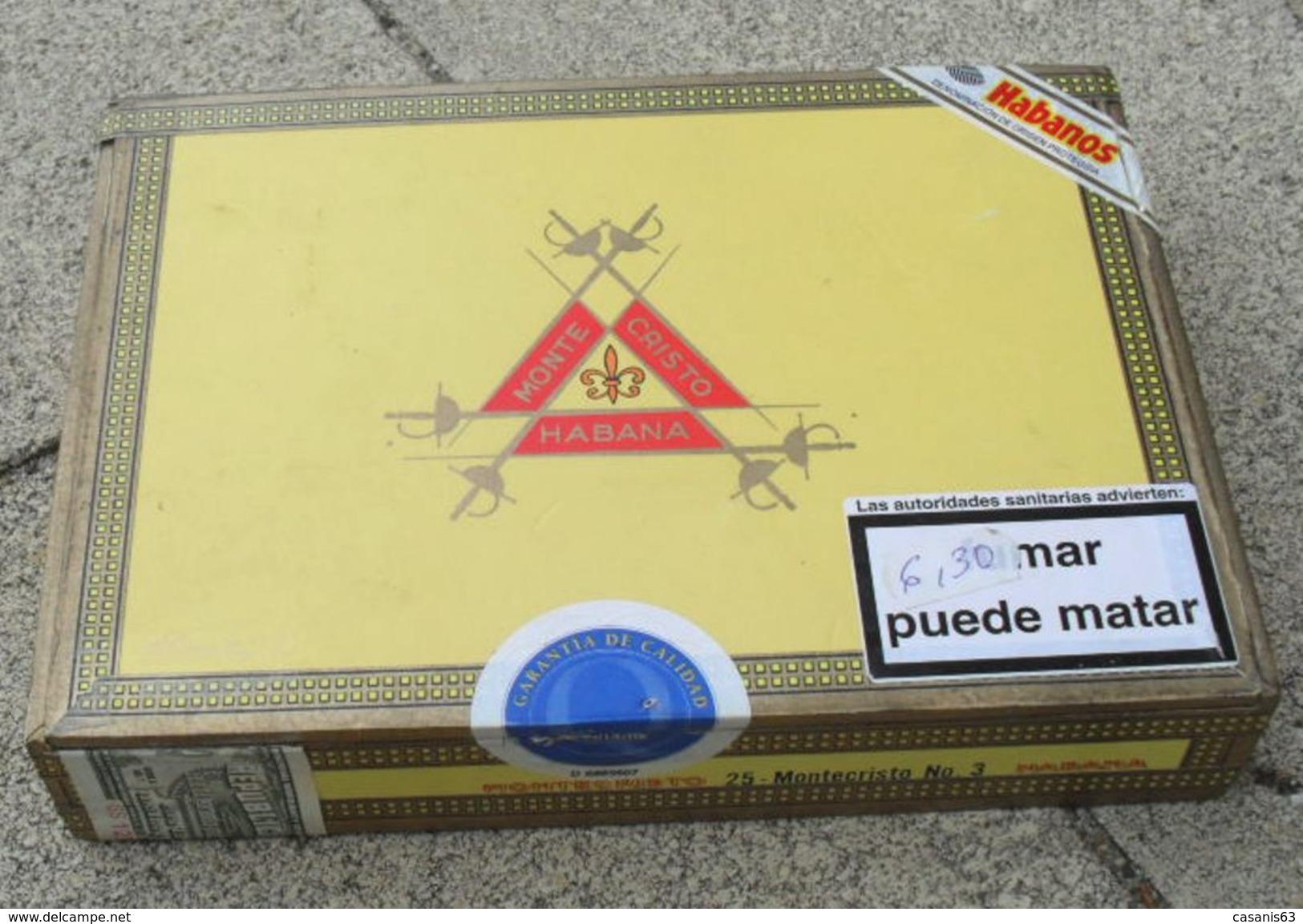 TABAC  )    BOITE  A  CIGARES  -   MONTECRISTO N°3 - HABANA CUBA - Étuis à Cigares