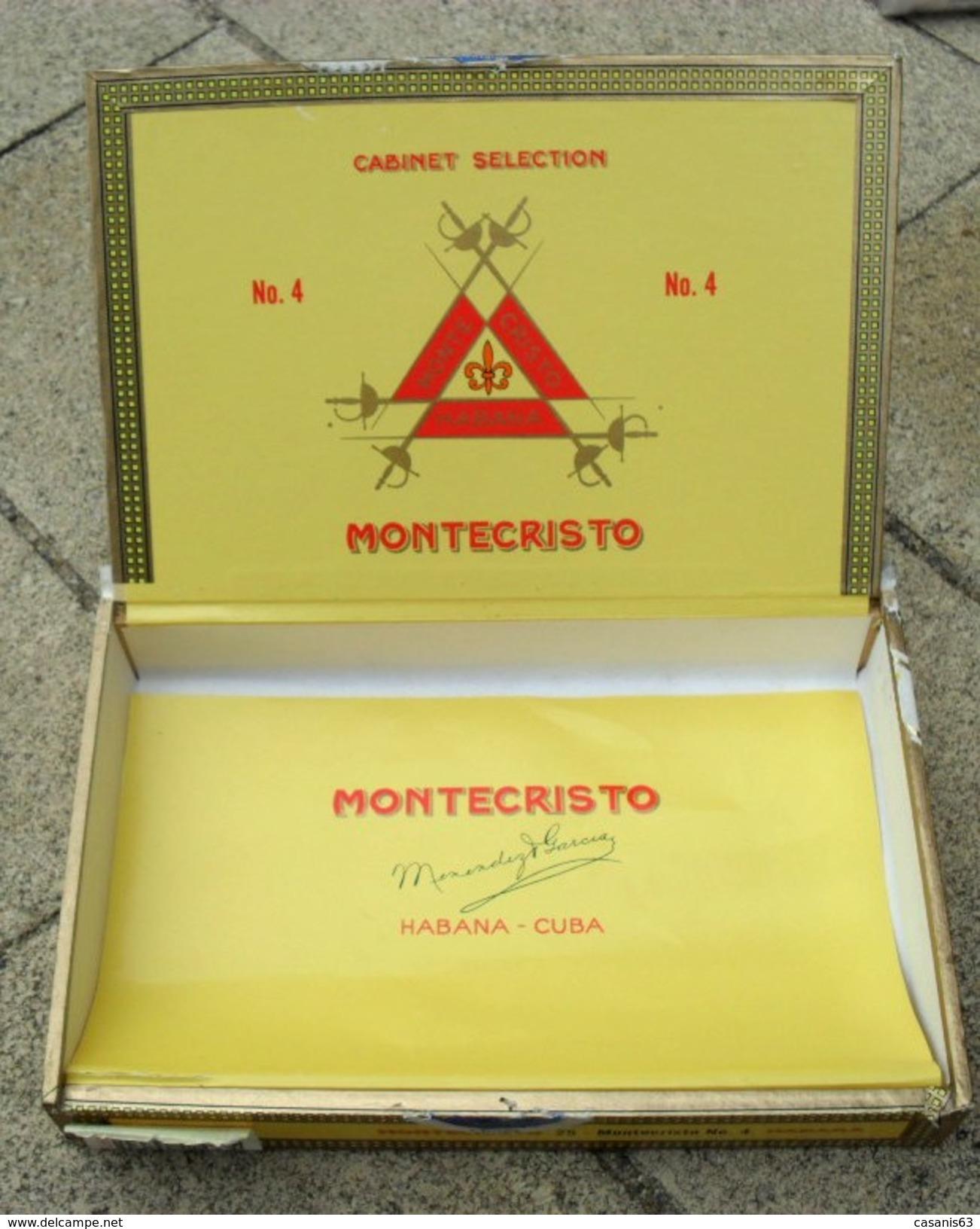 TABAC  )    BOITE  A  CIGARES  -   MONTECRISTO N°4 - HABANA CUBA - Étuis à Cigares