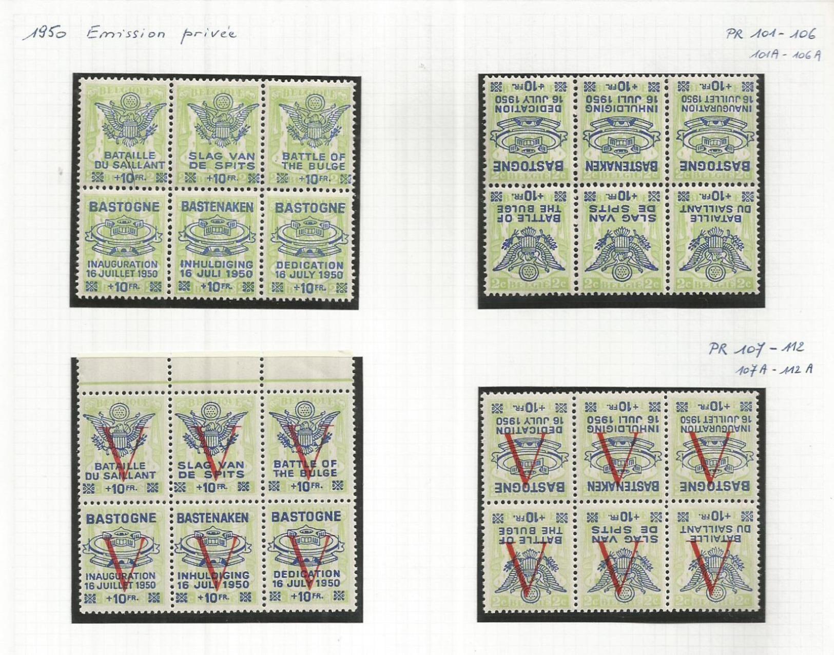 """1945 - COB 101 à 112 + 101 à 112 A + 129 à 132 + 131/132 Surch. Renversée  """"PETITS SCEAUX De L'ETAT"""" **(MNH) - Private & Local Mails"""